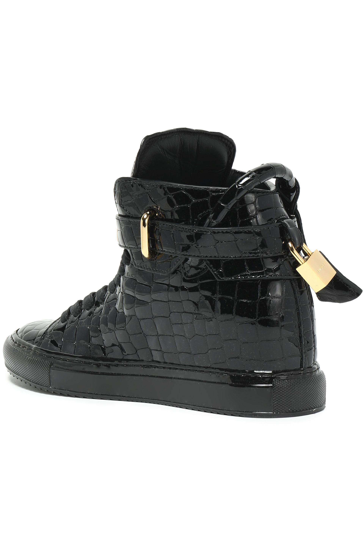 cbb965c482f4dd Lyst - Buscemi Embellished Croc-effect Patent-leather High-top ...