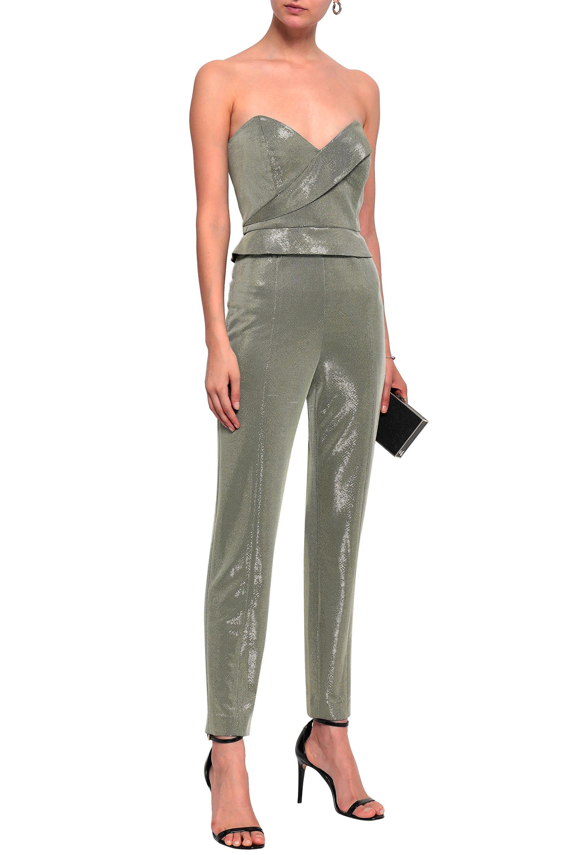 249e4e8d398 Michelle Mason Woman Strapless Lamé Jumpsuit Platinum - Lyst