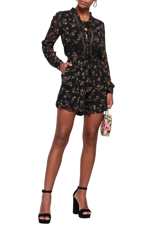 9840b7cd8c Zimmermann - Woman Lace-up Floral-print Crepe Playsuit Black - Lyst. View  fullscreen