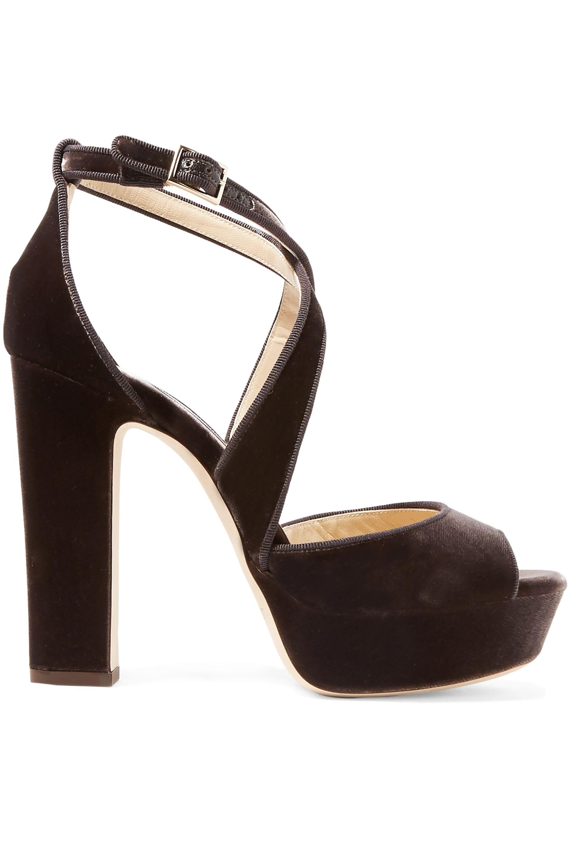 ecfa40f9f25 Jimmy Choo. Women s Woman April 120 Grosgrain-trimmed Velvet Platform  Sandals ...