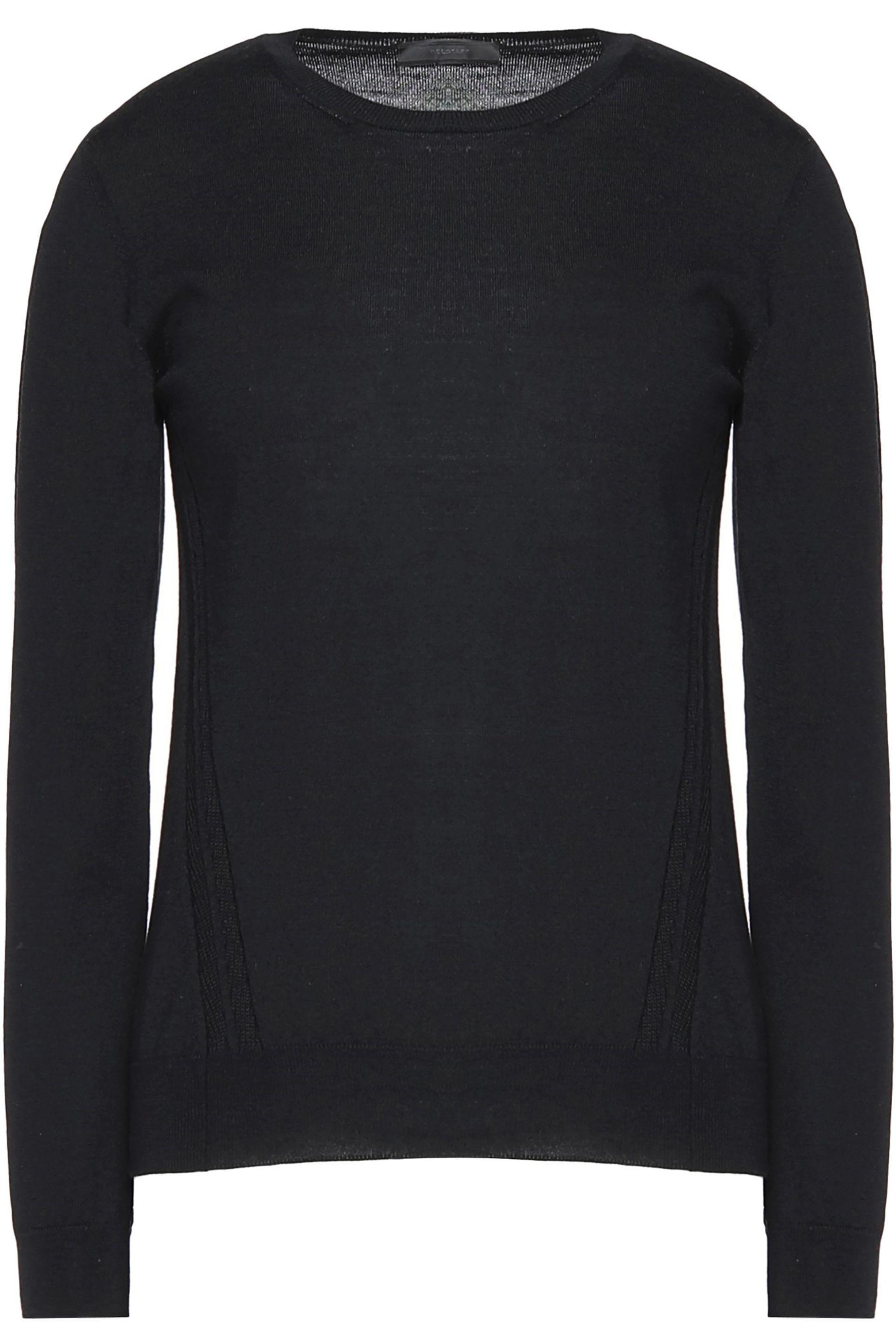 Belstaff Woman Cable Knit-trimmed Cashmere, Wool And Silk-blend Sweater Midnight Blue Size M Belstaff