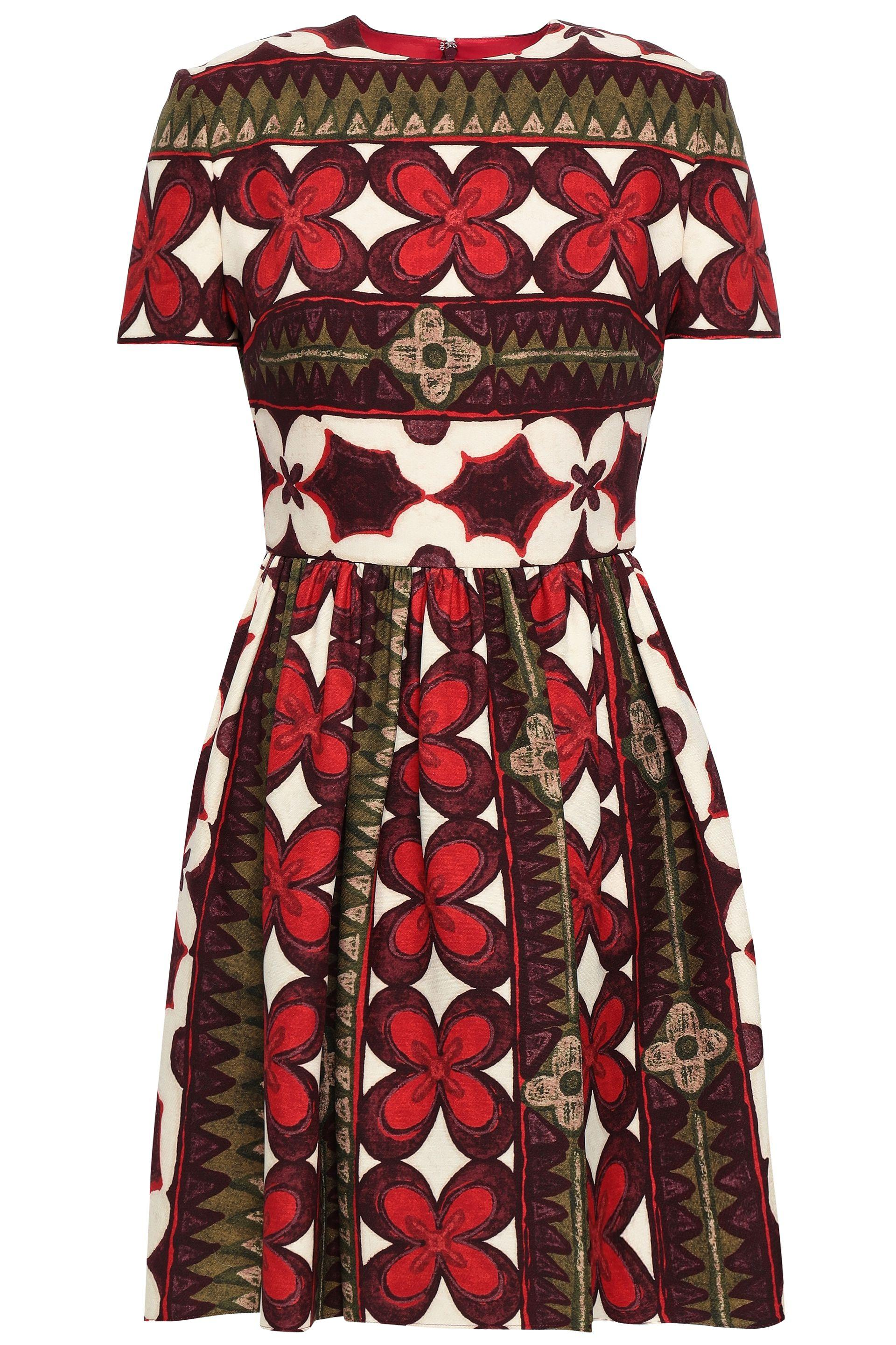 38aa93456dbb Valentino Floral-print Wool And Silk-blend Dress in Red - Save 26 ...