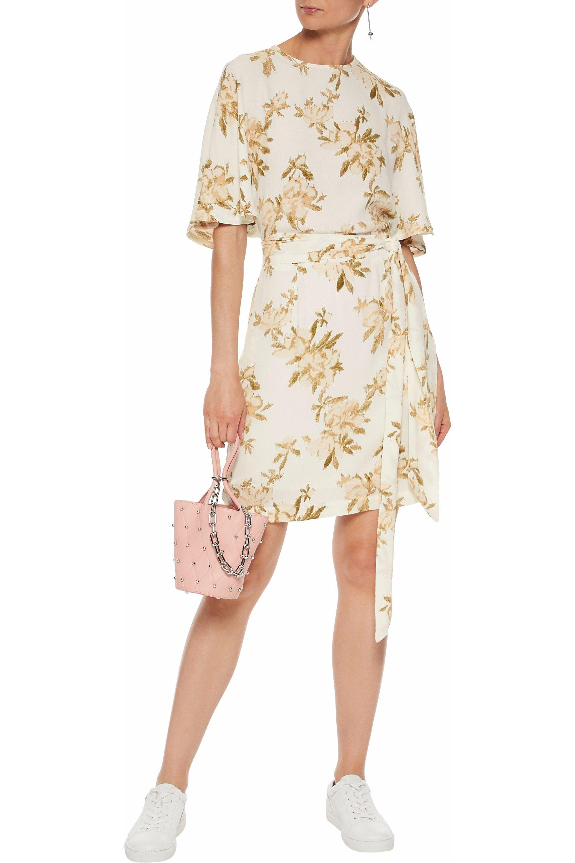 b00874ba1dc780 Ganni - Woman St. Pierre Floral-print Crepe Mini Dress White - Lyst. View  fullscreen