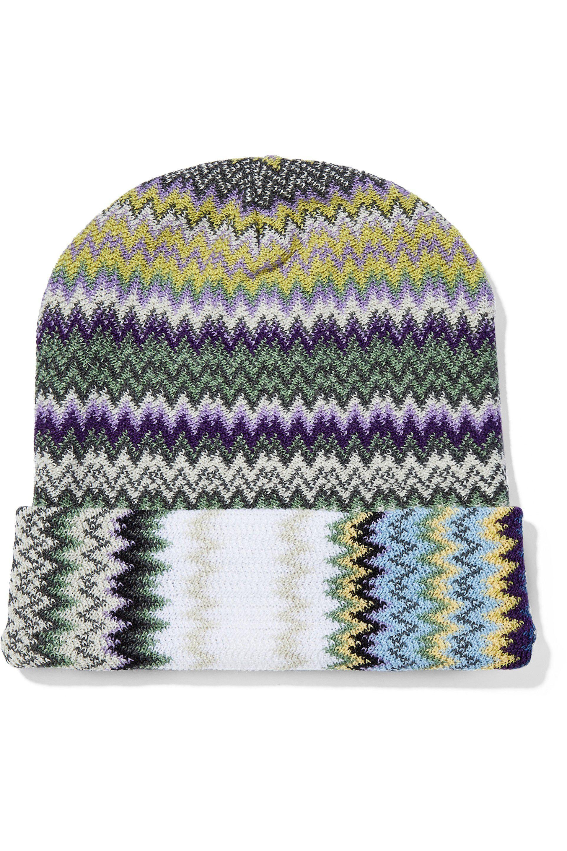 3082a41f0a4 Lyst - Missoni Woman Crochet-knit Wool-blend Beanie Light Green in Green