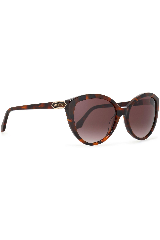 Roberto Cavalli Woman Cat-eye Pebbled-leather And Acetate Sunglasses Brown Size Roberto Cavalli alIDnp