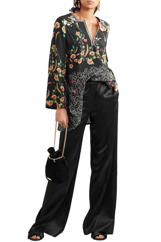 a77883234027a ... Floral-print Silk Crepe De Chine Peplum Blouse Black - Lyst. View  fullscreen