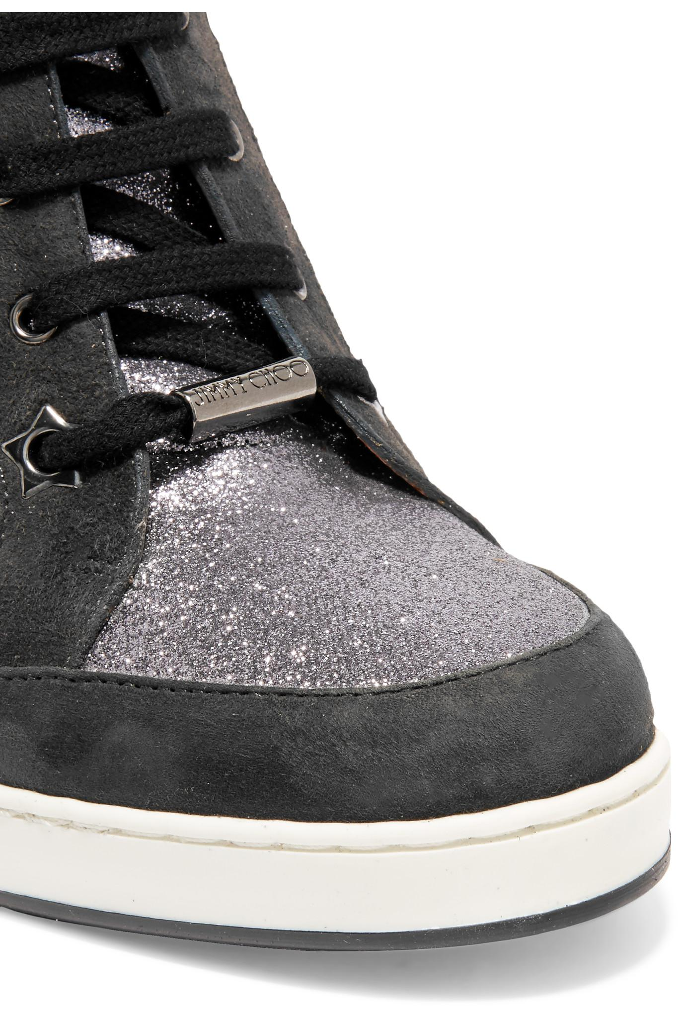 Lyst Jimmy Choo Glittered Leather And Suede Wedge