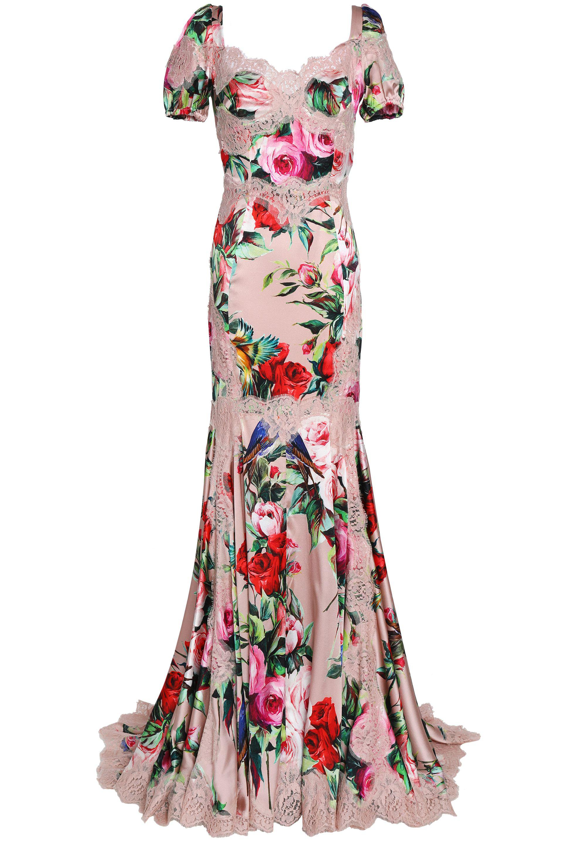f45bd360 Dolce & Gabbana Floral-print Lace Appliquéd Stretch-silk Gown in ...