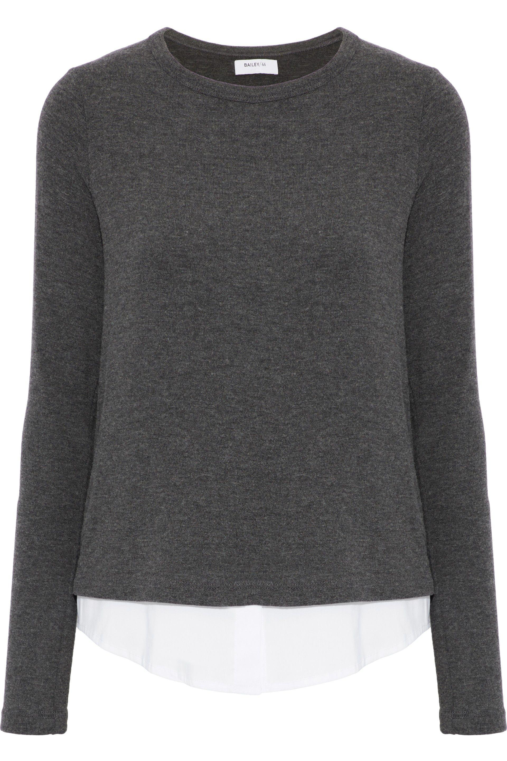 Outlet Best Wholesale Bailey 44 Woman Poplin-paneled Knitted Top Anthracite Size M Bailey 44 Clearance Best Place Huge Surprise Online Low Cost Cheap Price PCArDteSj2