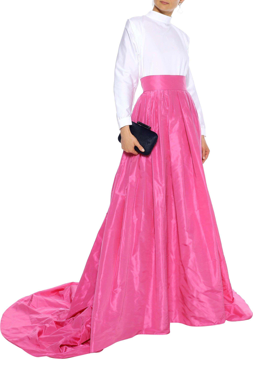 8d30bc402d Carolina Herrera - Woman Pleated Silk-taffeta Maxi Skirt Pink - Lyst. View  fullscreen