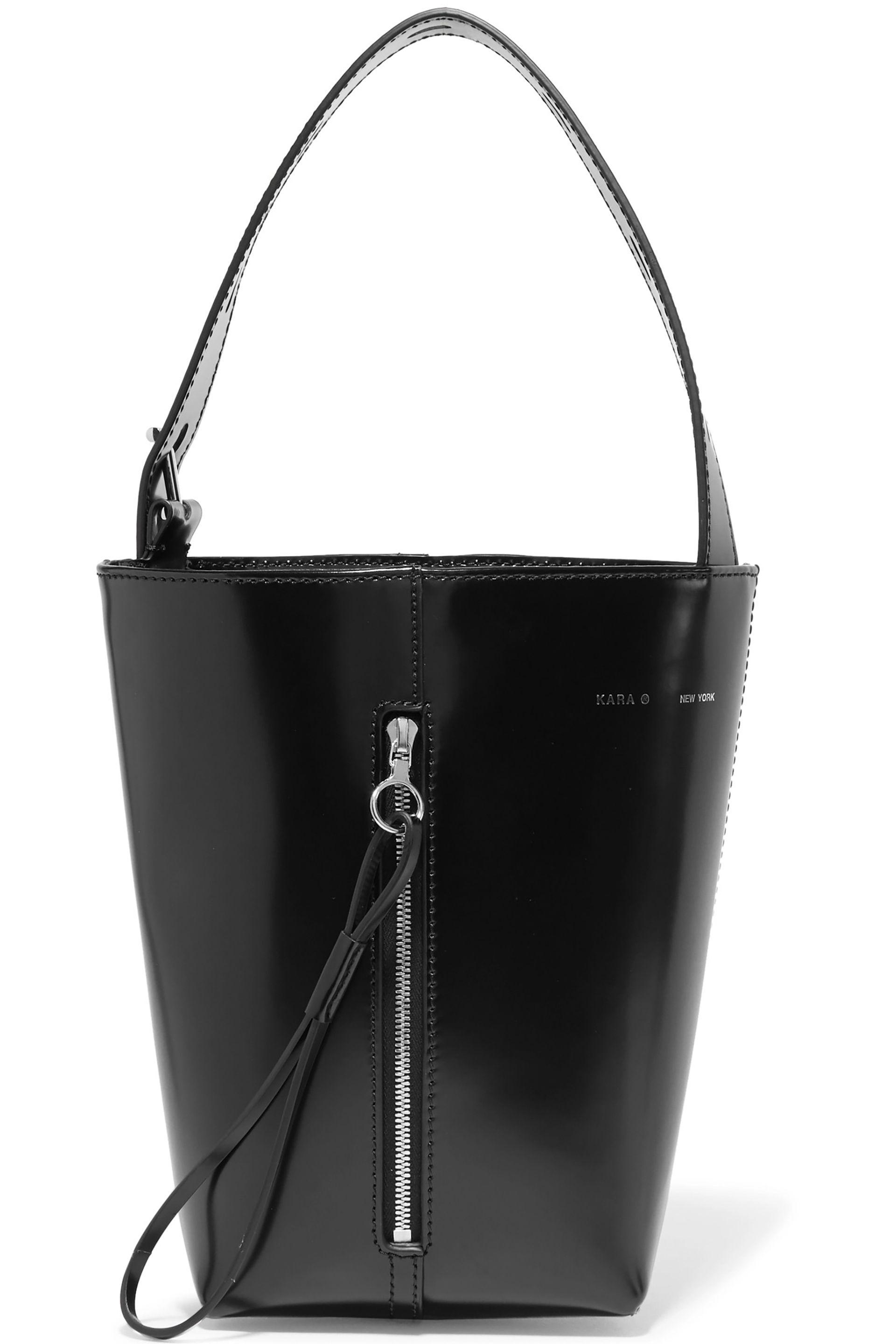 f34fa962a759 Kara Panel Pail Glossed-leather Bucket Bag in Black - Lyst