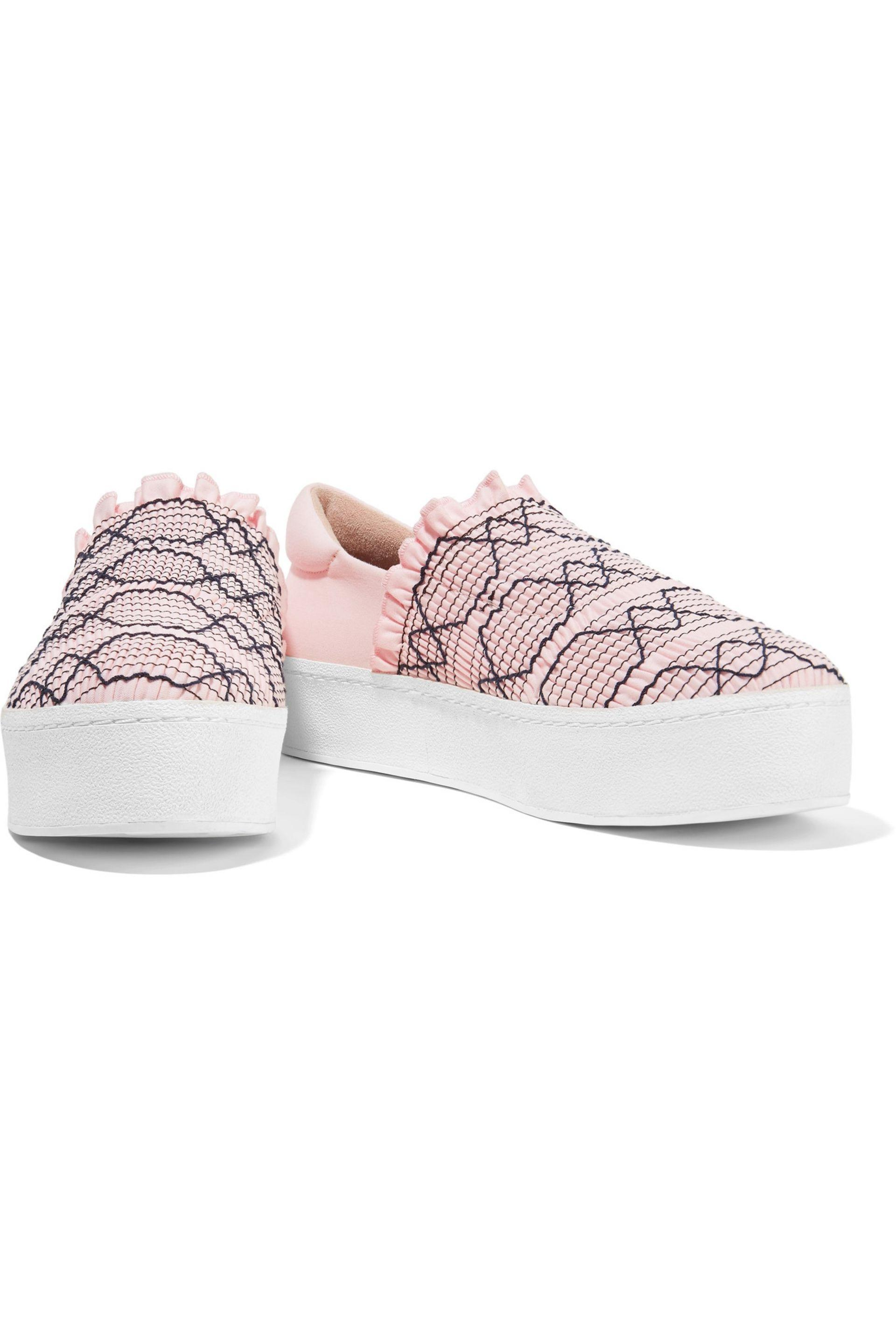 504607a583ca Opening Ceremony - Woman Cici Shirred Embroidered Canvas Slip-on Platform  Sneakers Pastel Pink -. View fullscreen