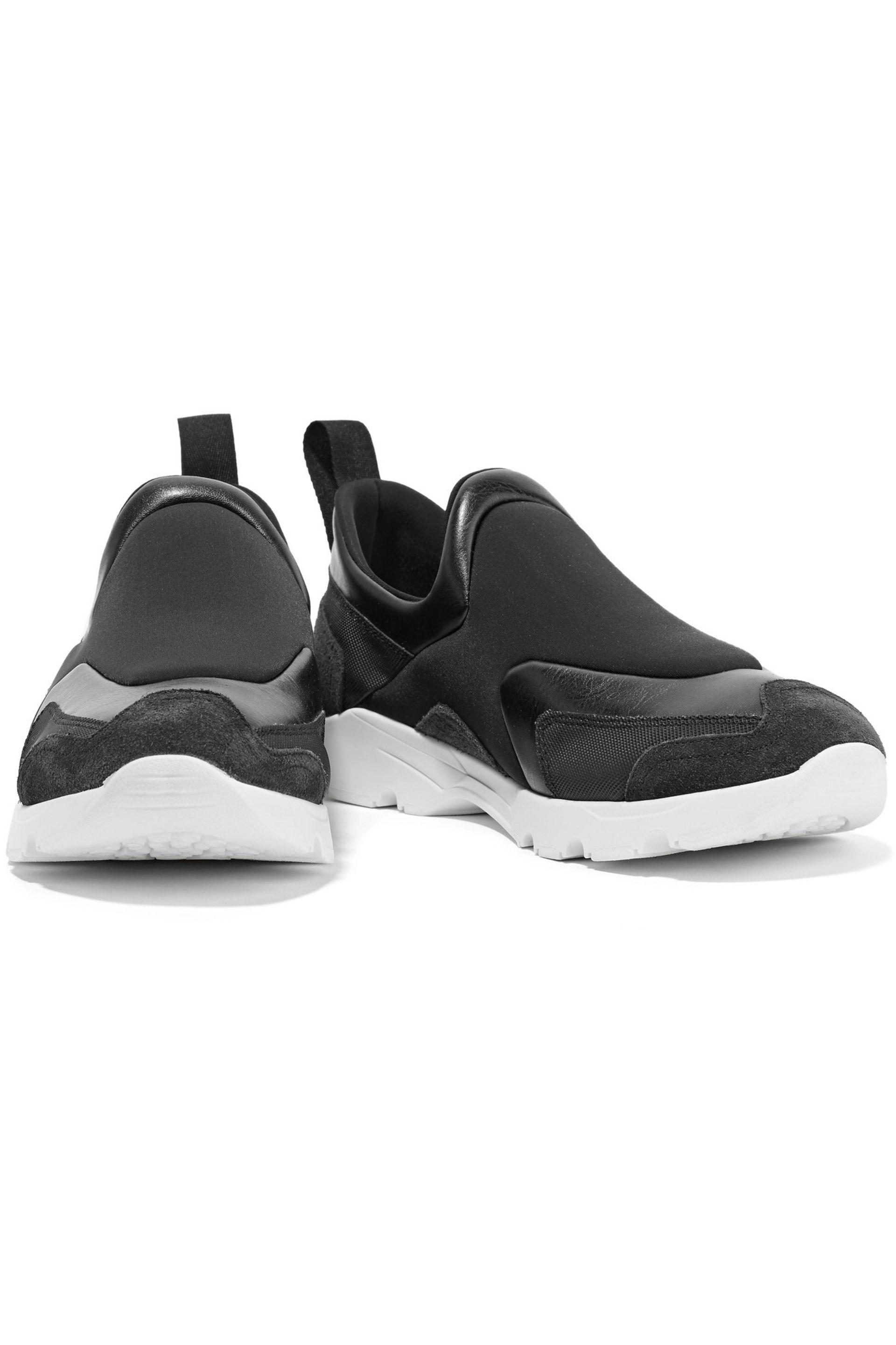 MM6 by Maison Martin Margiela - Black Leather And Suede-trimmed Neoprene  Sneakers - Lyst. View Fullscreen