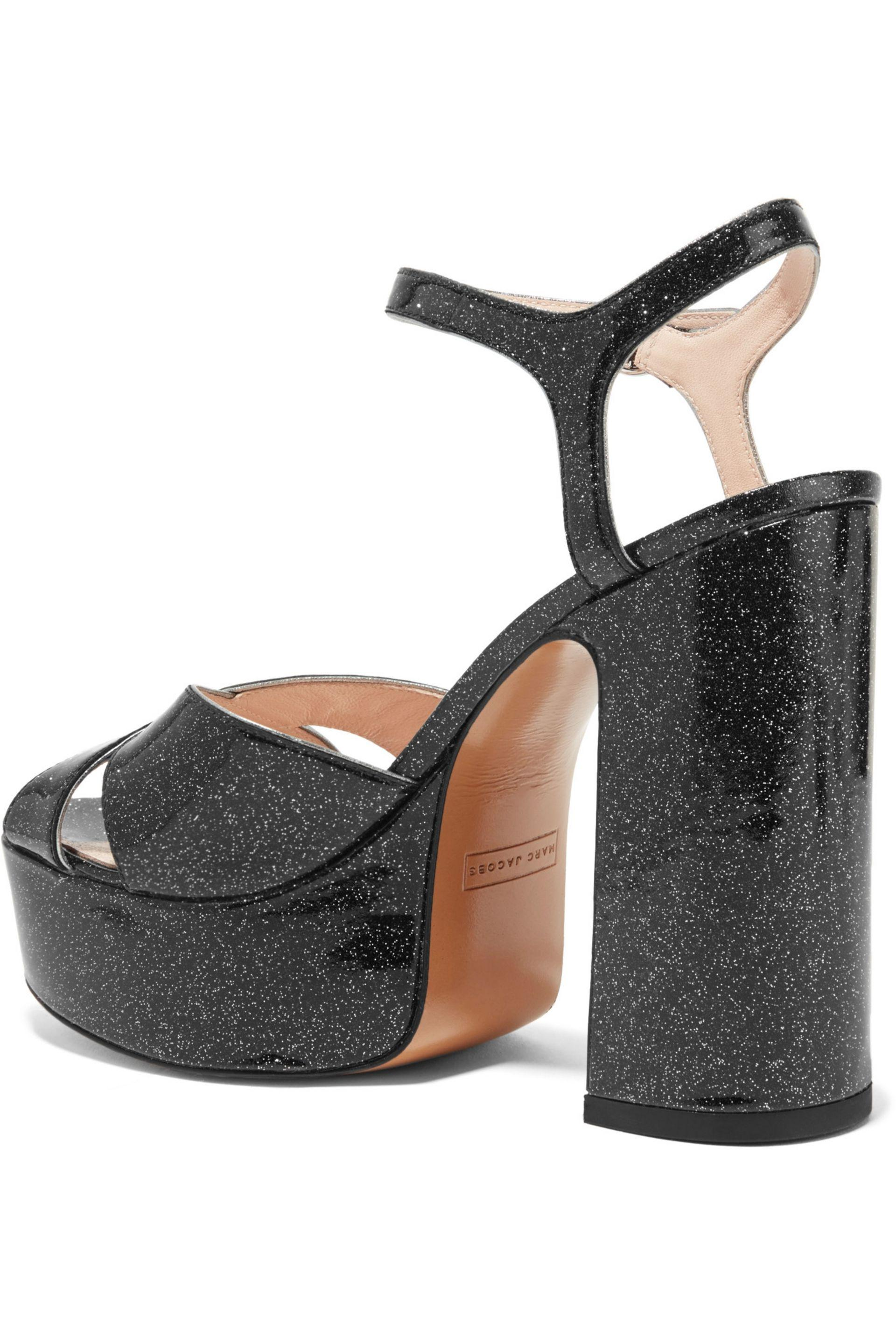 Marc Jacobs - Black Lust Glittered Leather Platform Sandals - Lyst. View  fullscreen