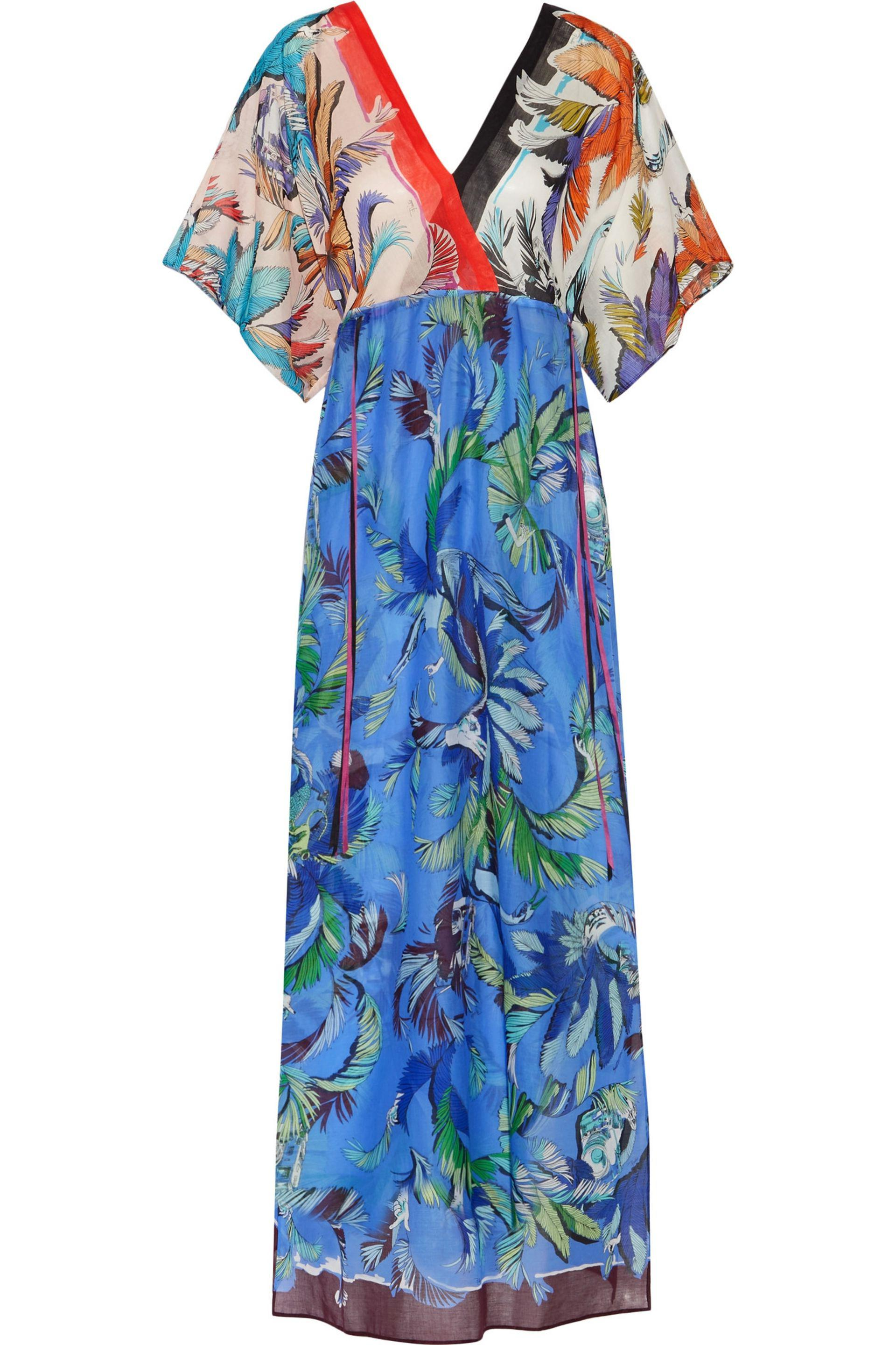 Emilio Pucci Woman Printed Cotton And Silk-blend Top Sky Blue Size 42 Emilio Pucci Low Shipping Fee Online Fashionable For Sale Outlet View CSIha