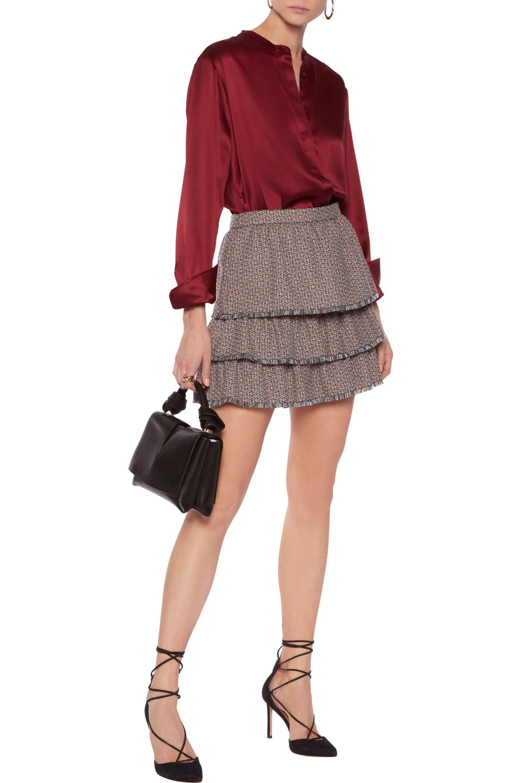 7eb7a092a9 Sonia Rykiel Layered Ruffled Wool-tweed Mini Skirt - Lyst