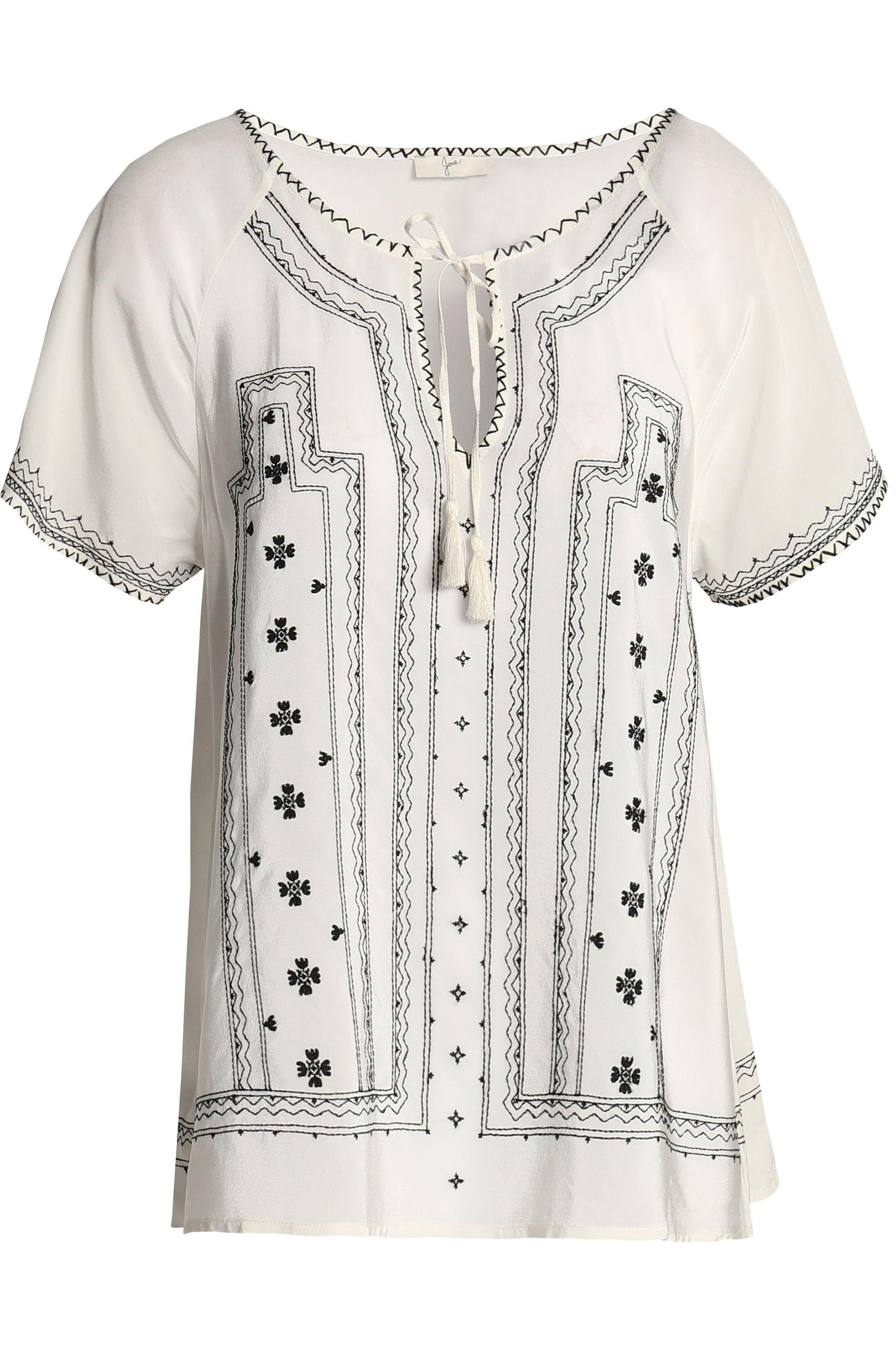 Joie Woman Tasseled Embroidered Silk Crepe De Chine Blouse White Size L Joie Clearance Authentic Reliable Online Buy Cheap Best Wholesale C3c3iv3Has