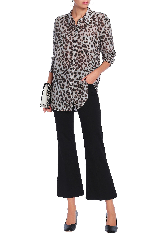 db584c727a6956 Lyst - Equipment Woman Leopard-print Cotton And Silk-blend Shirt ...