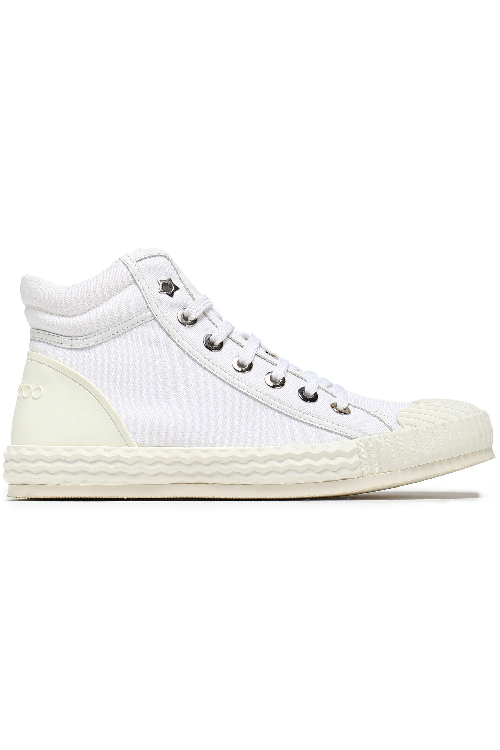 Jimmy Choo Woman Berlin Canvas And Embossed Leather High-top Sneakers White Size 41 Jimmy Choo London eKbyyL