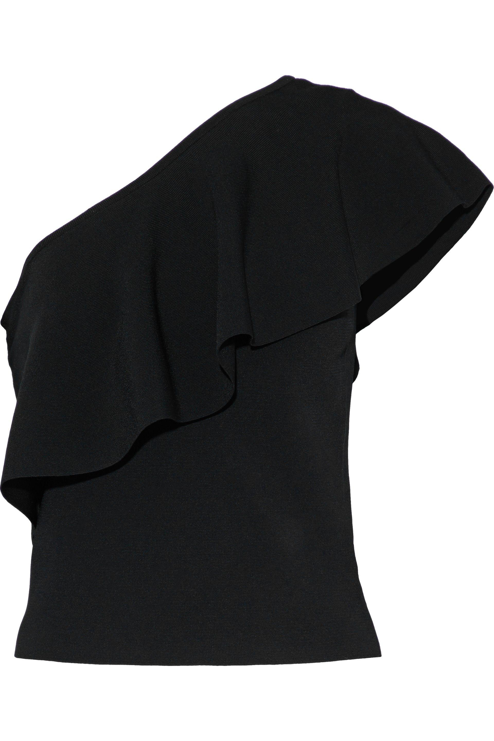 MILLY. Women's Black One-shoulder Ruffled Stretch-knit Top