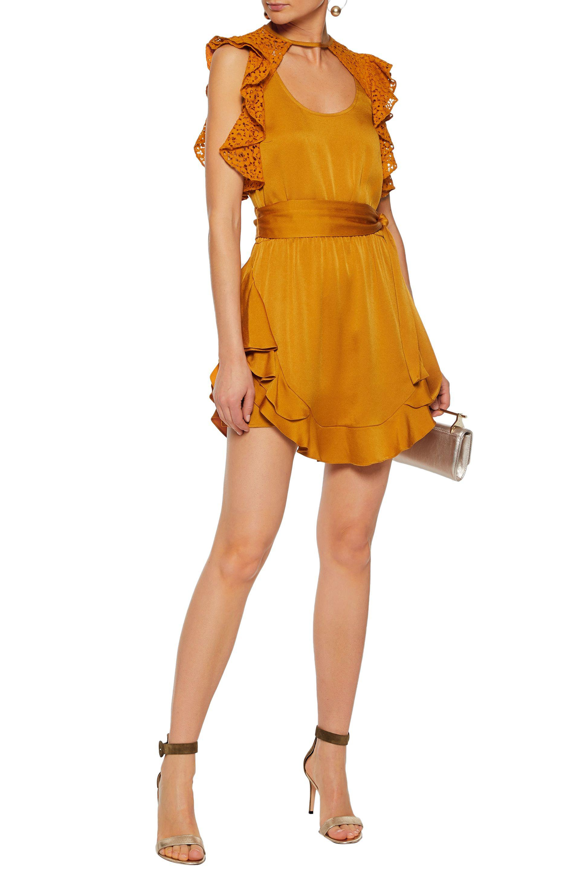 Marissa Webb Woman Ruffled Corded Lace-paneled Satin-crepe Mini Dress Saffron Size S Marissa Webb VMzWSE0ra