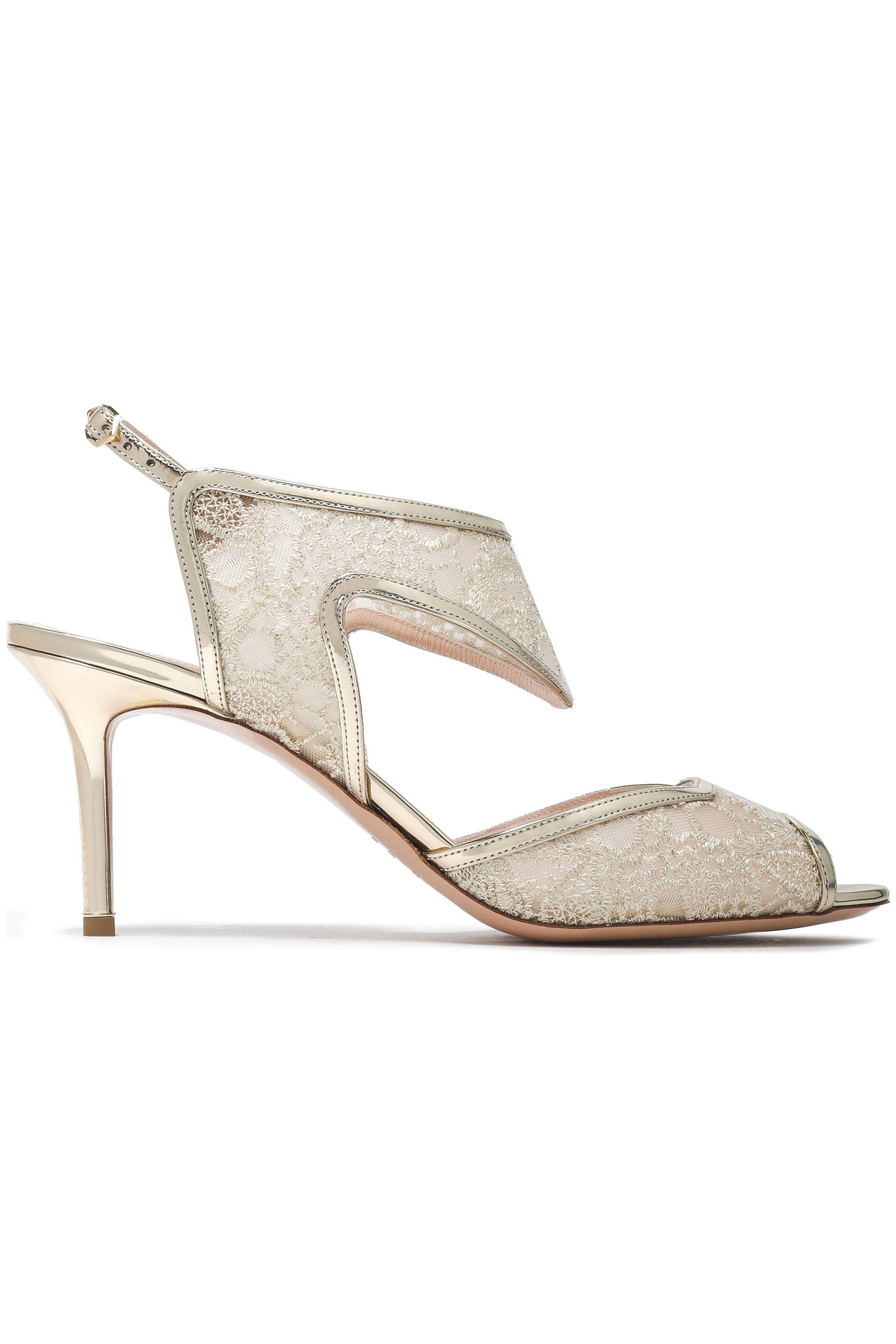 dcf18eb9d27 Nicholas Kirkwood. Women s Metallic Leather-trimmed Embroidered Mesh Sandals