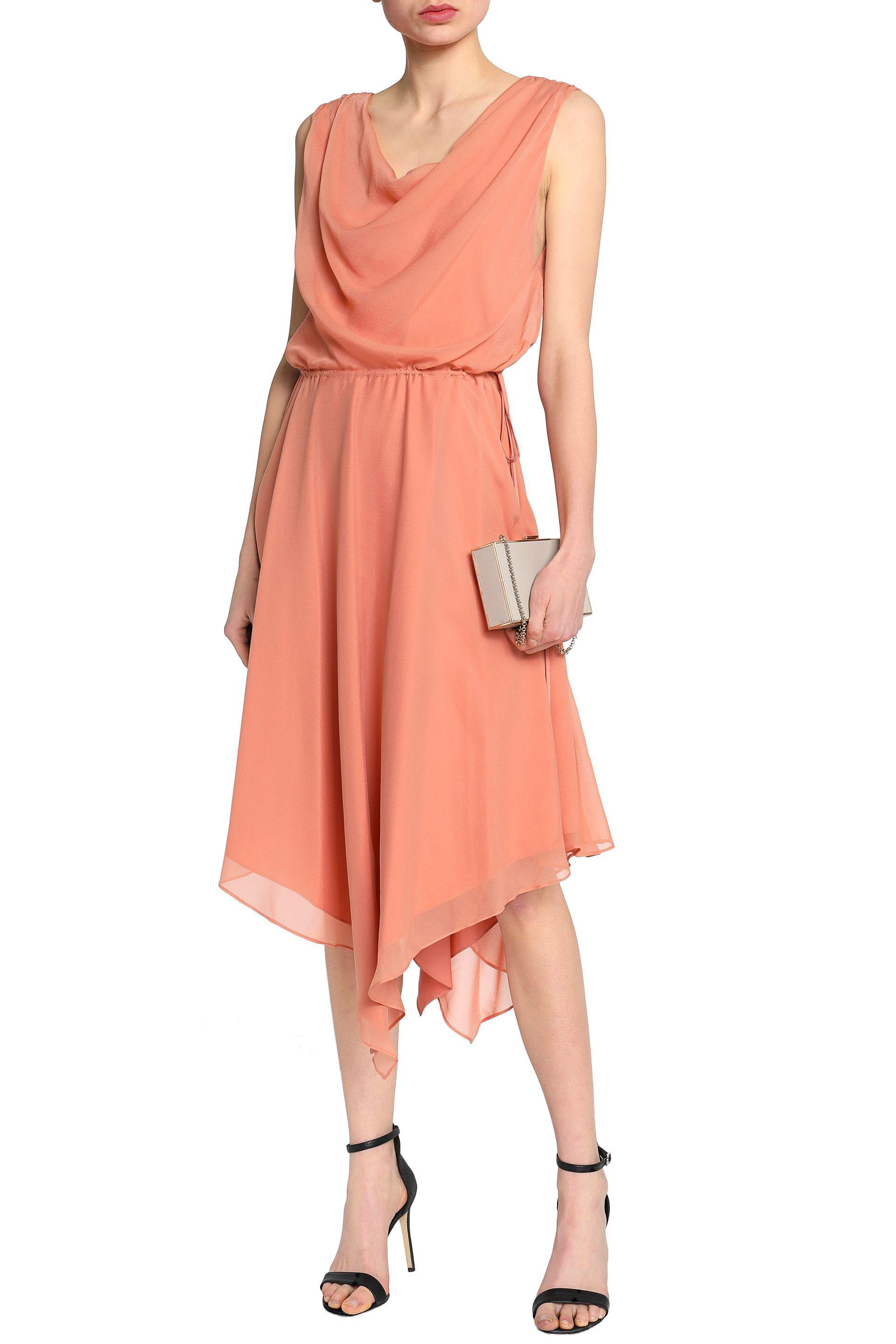 Haute Hippie Woman Draped Silk Crepe De Chine Dress Pastel Orange Size 10 Haute Hippie g2xLFO7