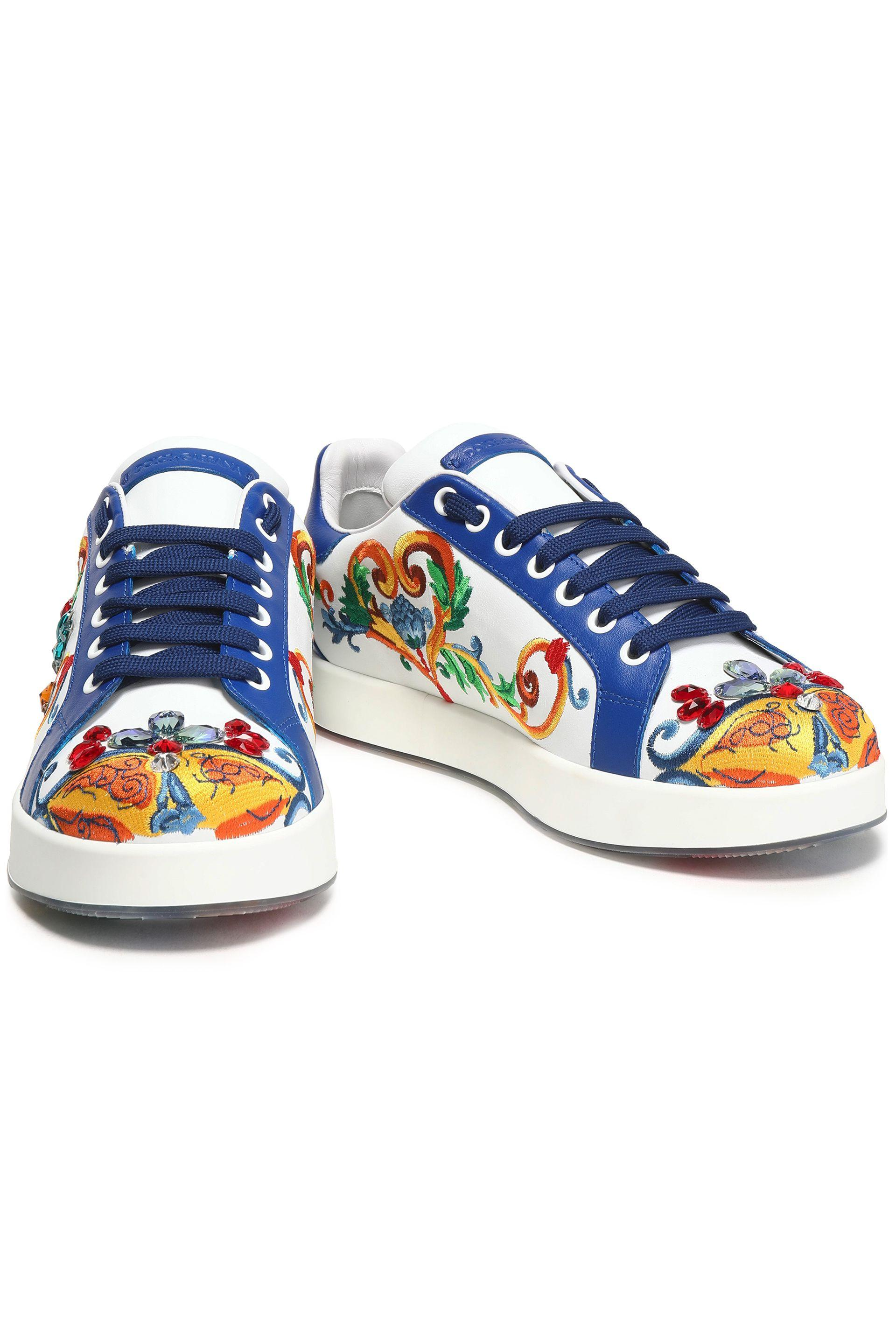 968f15c836 Dolce & Gabbana - White Woman Portofino Crystal-embellished Embroidered Leather  Sneakers Blue - Lyst. View fullscreen