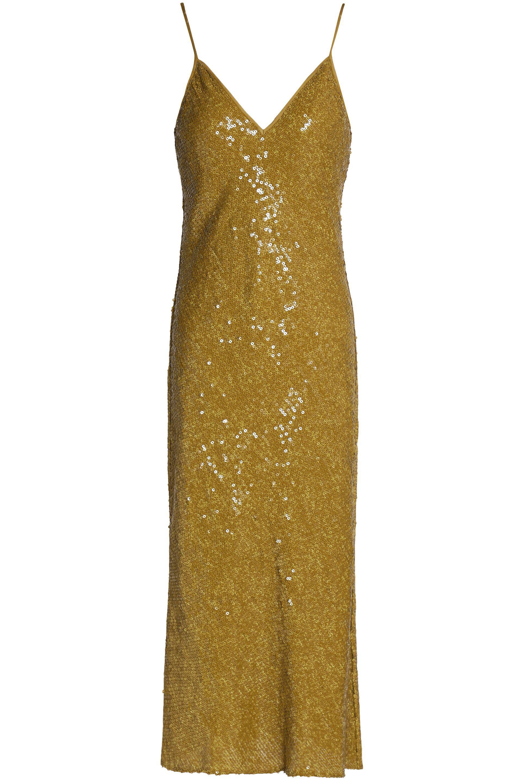 Diane Von Furstenberg Sequined Silk Midi Dress in Metallic - Lyst