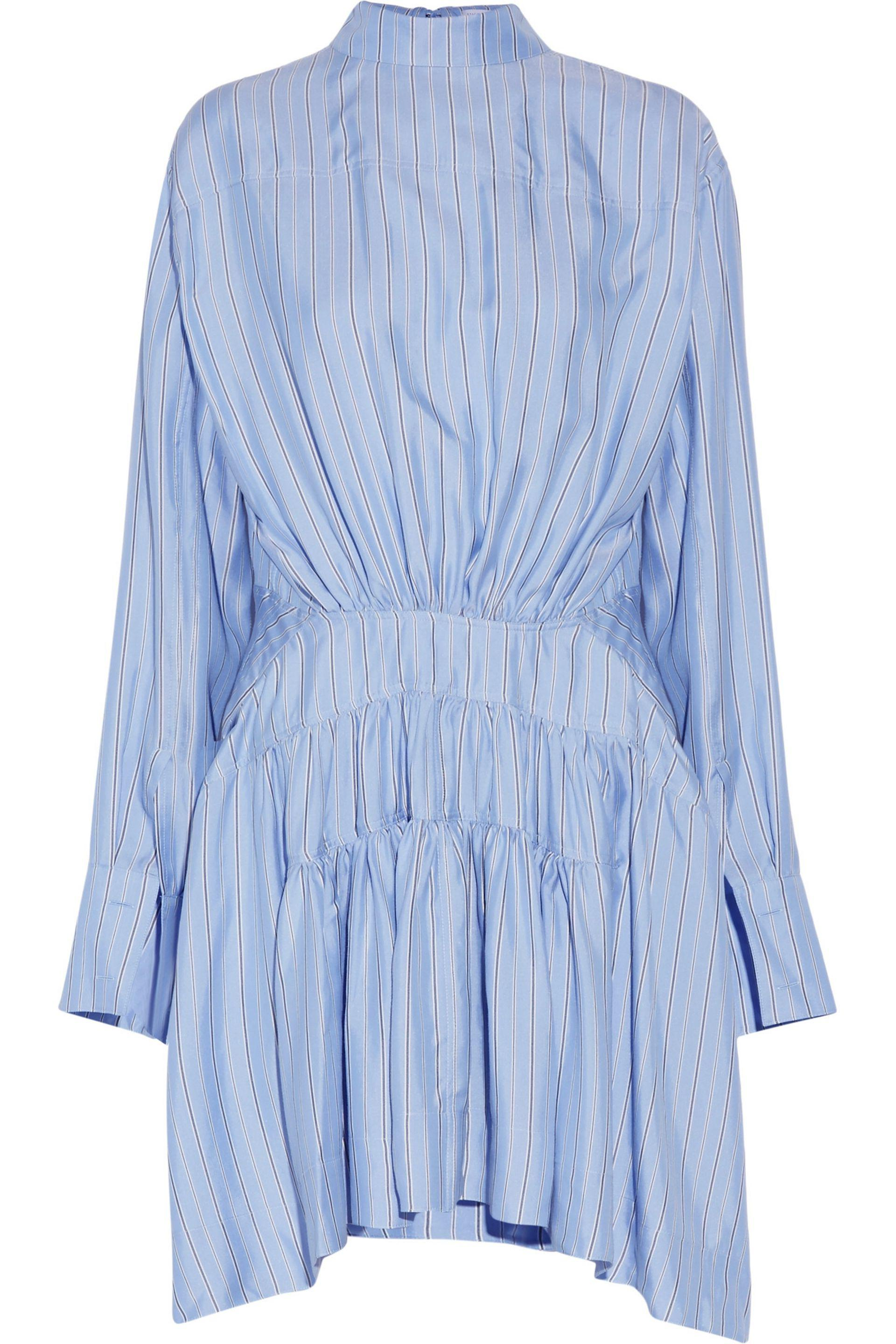 J.w.anderson Woman Open-back Striped Gathered Silk-satin Dress Sky Blue Size 14 J.W.Anderson 3DpXmmyxb