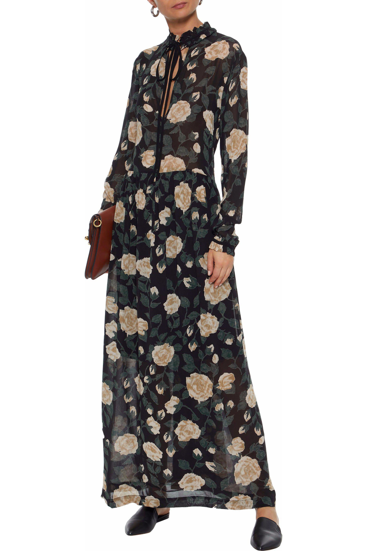 d3ef0f68 Ganni Woman Carlton Polka-dot Georgette Maxi Dress Black in Black - Lyst