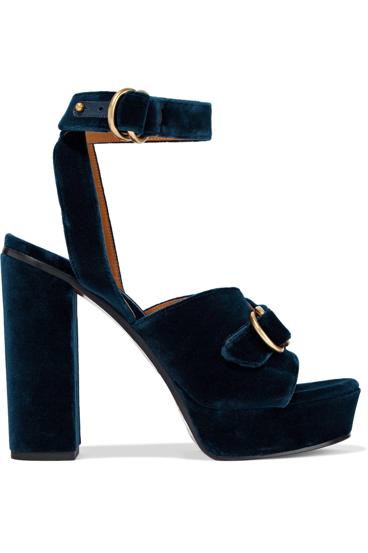 04b69cca997f Chloé. Women s Chloé Woman Kingsley Buckled Velvet Platform Sandals ...