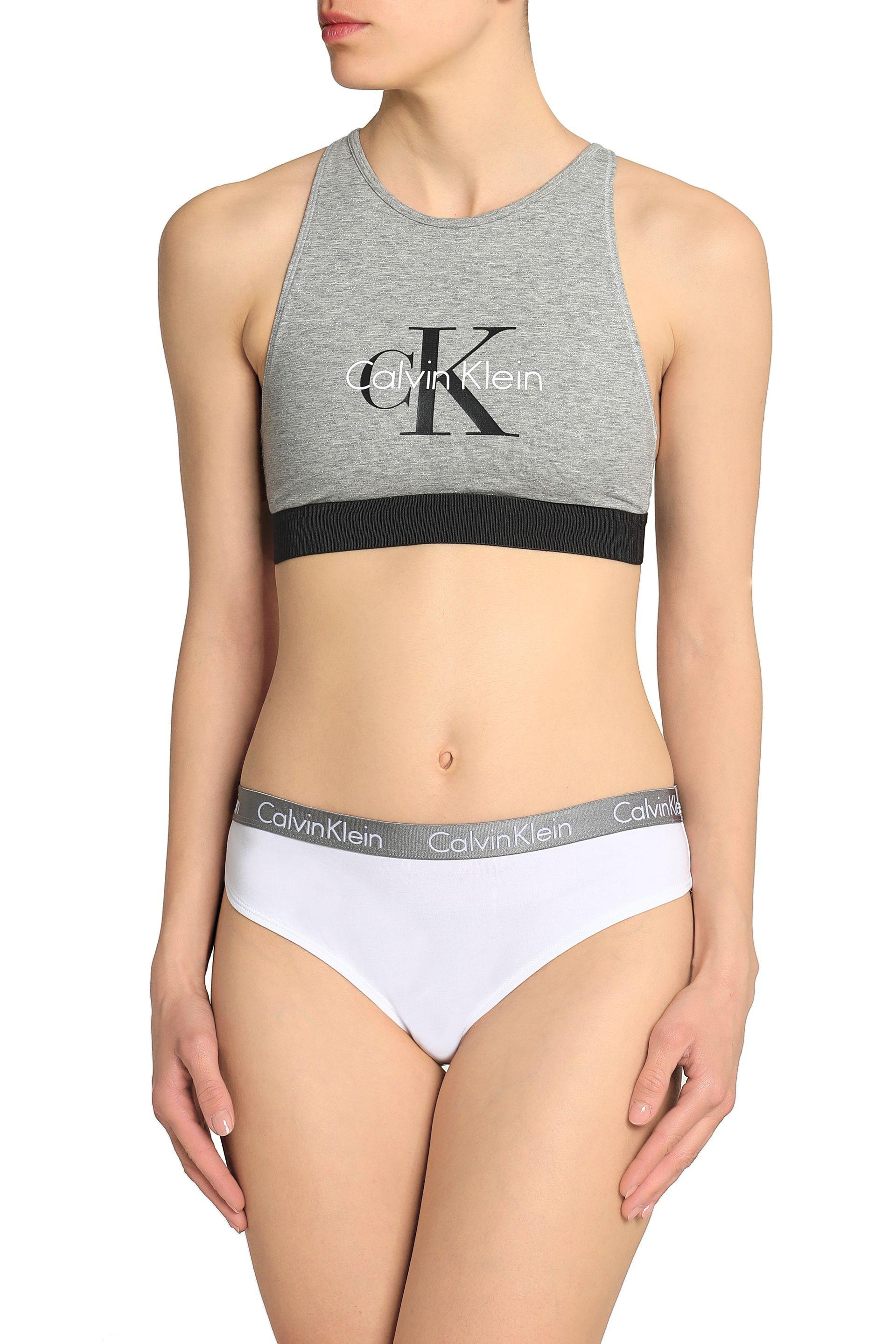 Calvin Klein - Gray Printed Stretch-cotton Sports Bra - Lyst. View  fullscreen fffa6b031