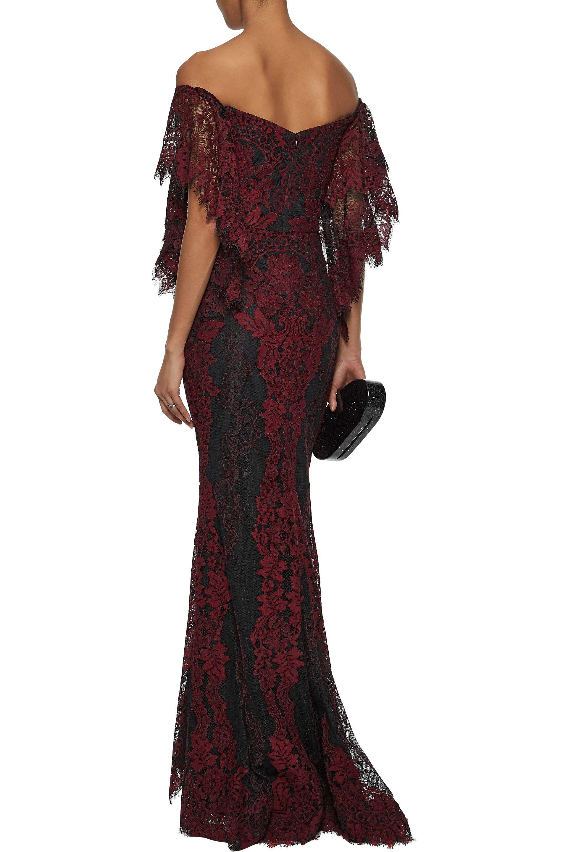 4407eecedf1 Badgley Mischka Off-the-shoulder Draped Corded Lace Gown - Lyst
