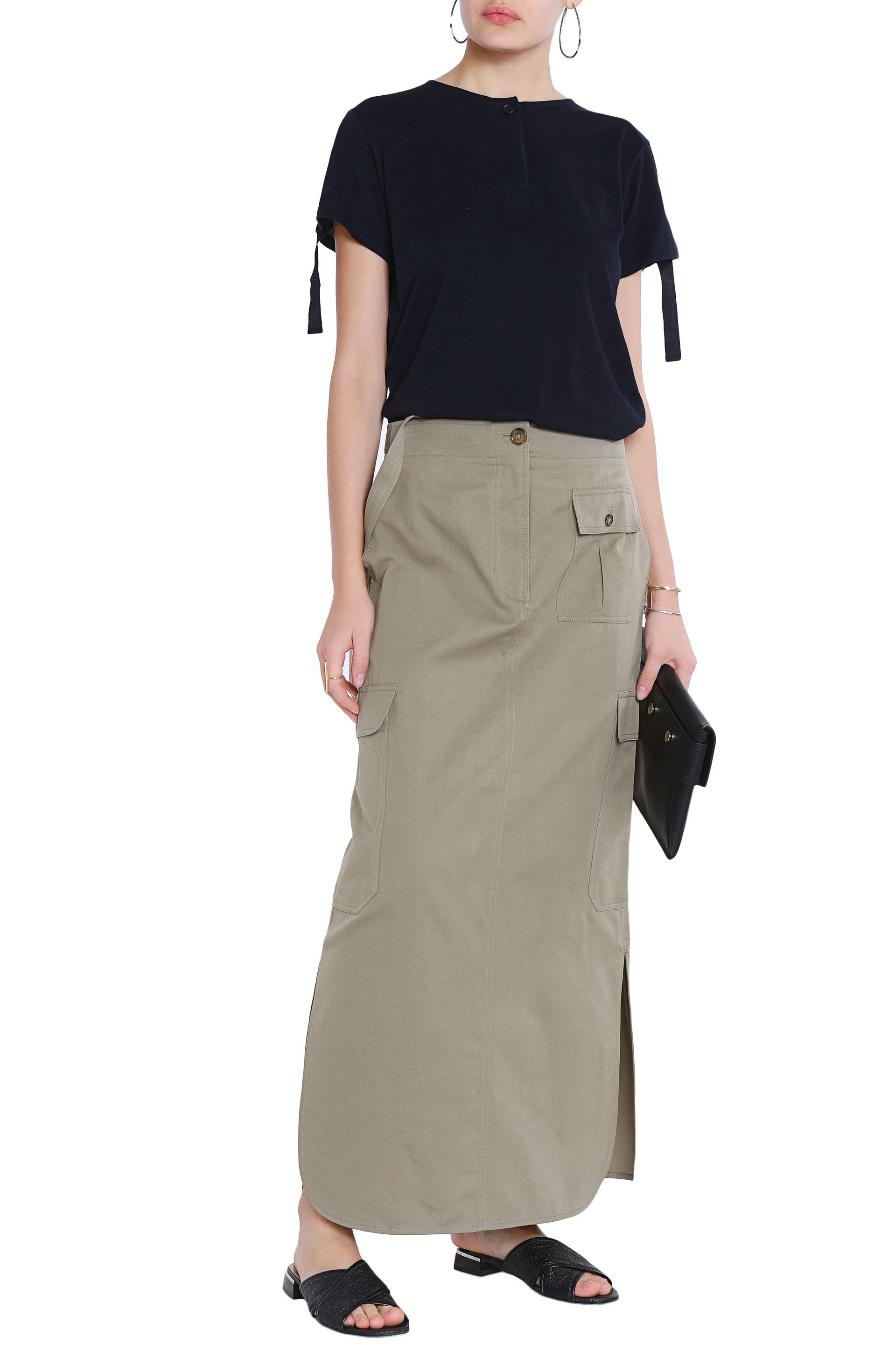 5b2db57eef Helmut Lang Cotton And Silk-blend Maxi Skirt Army Green in Green - Lyst