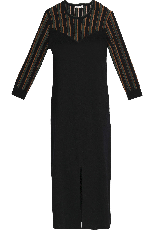 Nina Ricci Woman Intarsia-paneled Wool And Silk-blend Dress Black Size L Nina Ricci Cheap Sale Limited Edition m7CMnMu1