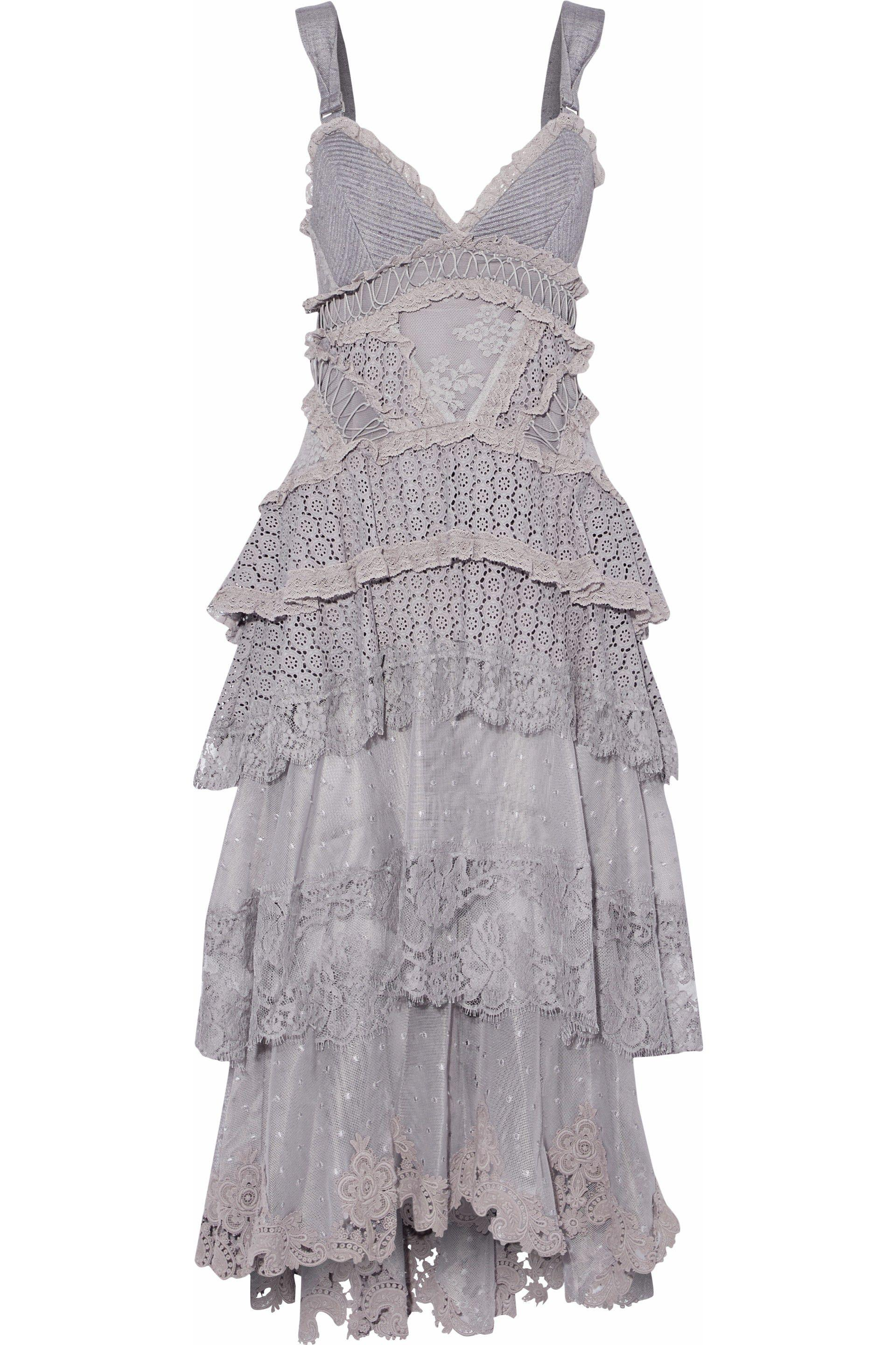 b1e4a963b562 Zimmermann Tiered Ribbed-knit-paneled Swiss-dot Tulle And Lace Midi ...