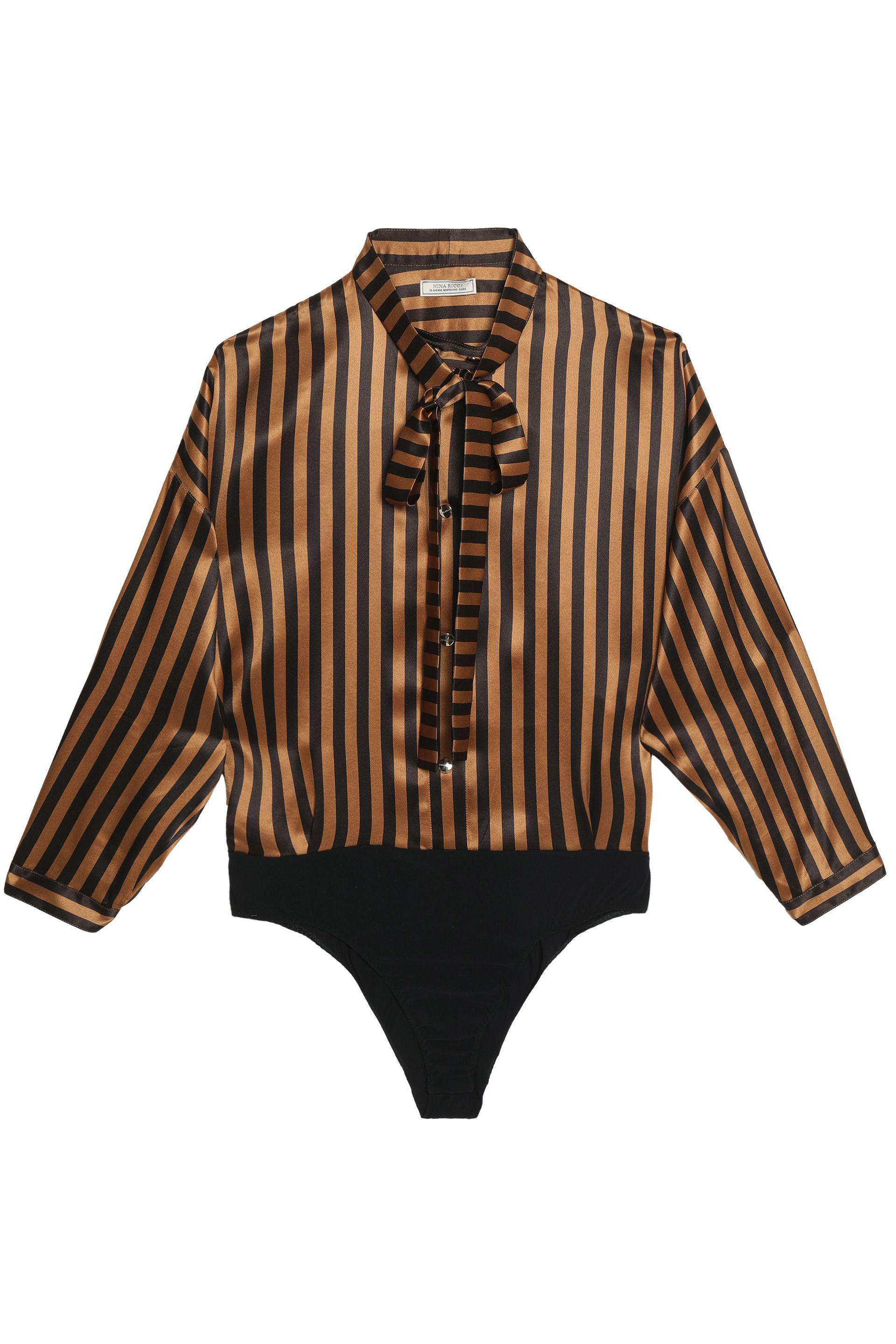 Nina Ricci Woman Pussy-bow Striped Silk-satin Shirt Violet Size 40 Nina Ricci Best Buy Cheap Sale 2018 New Free Shipping Pick A Best Buy Cheap Shop Offer Free Shipping Best Prices yKFca