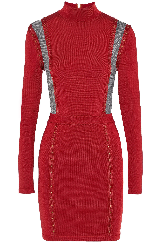 b61b40fc Balmain. Women's Red Woman Mesh-paneled Studded Stretch-knit Turtleneck Mini  Dress Crimson