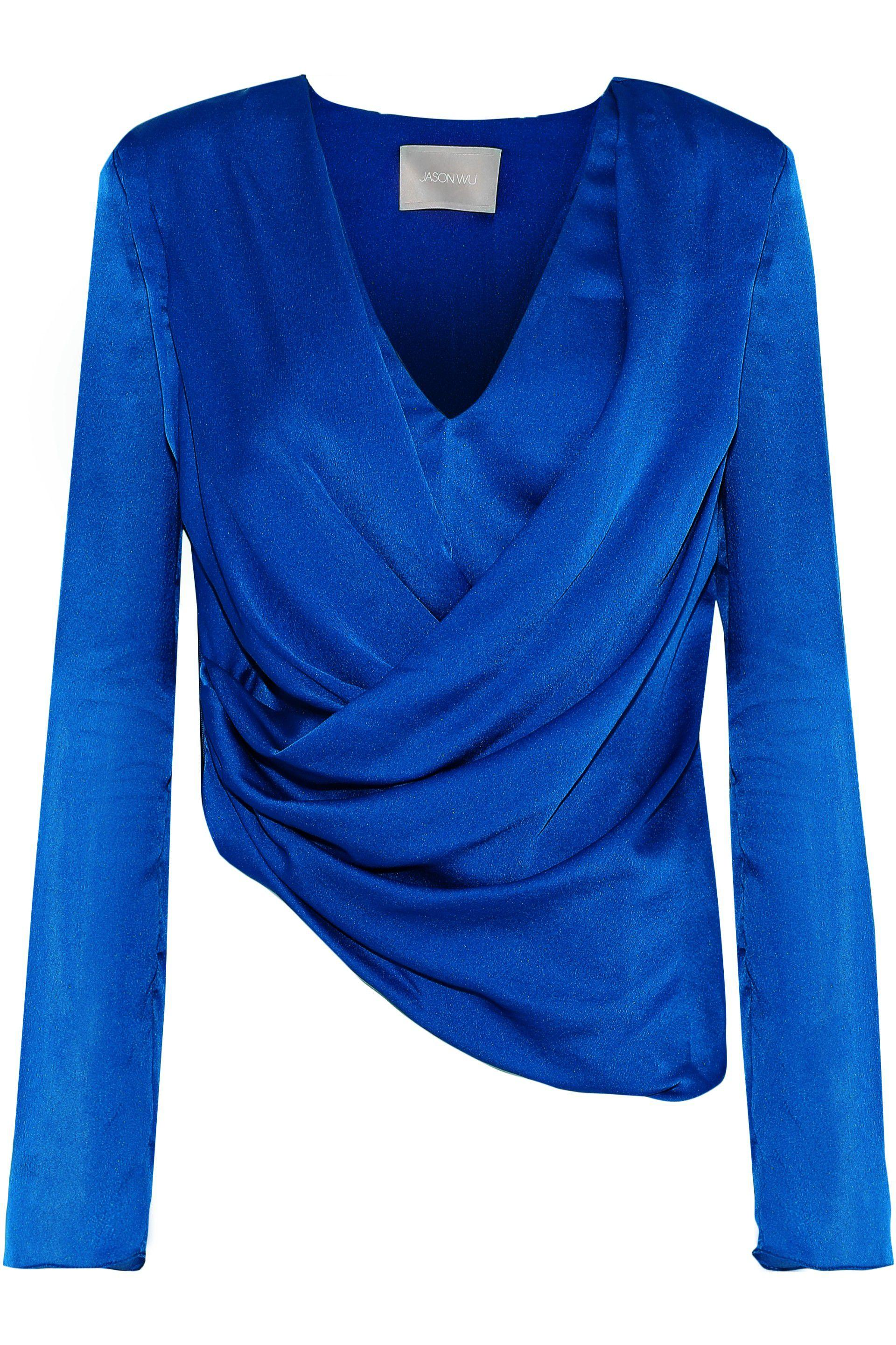 4baf9da55417 Jason Wu Long-sleeve V-neck Silk Satin Wrap Top in Blue - Save 14 ...