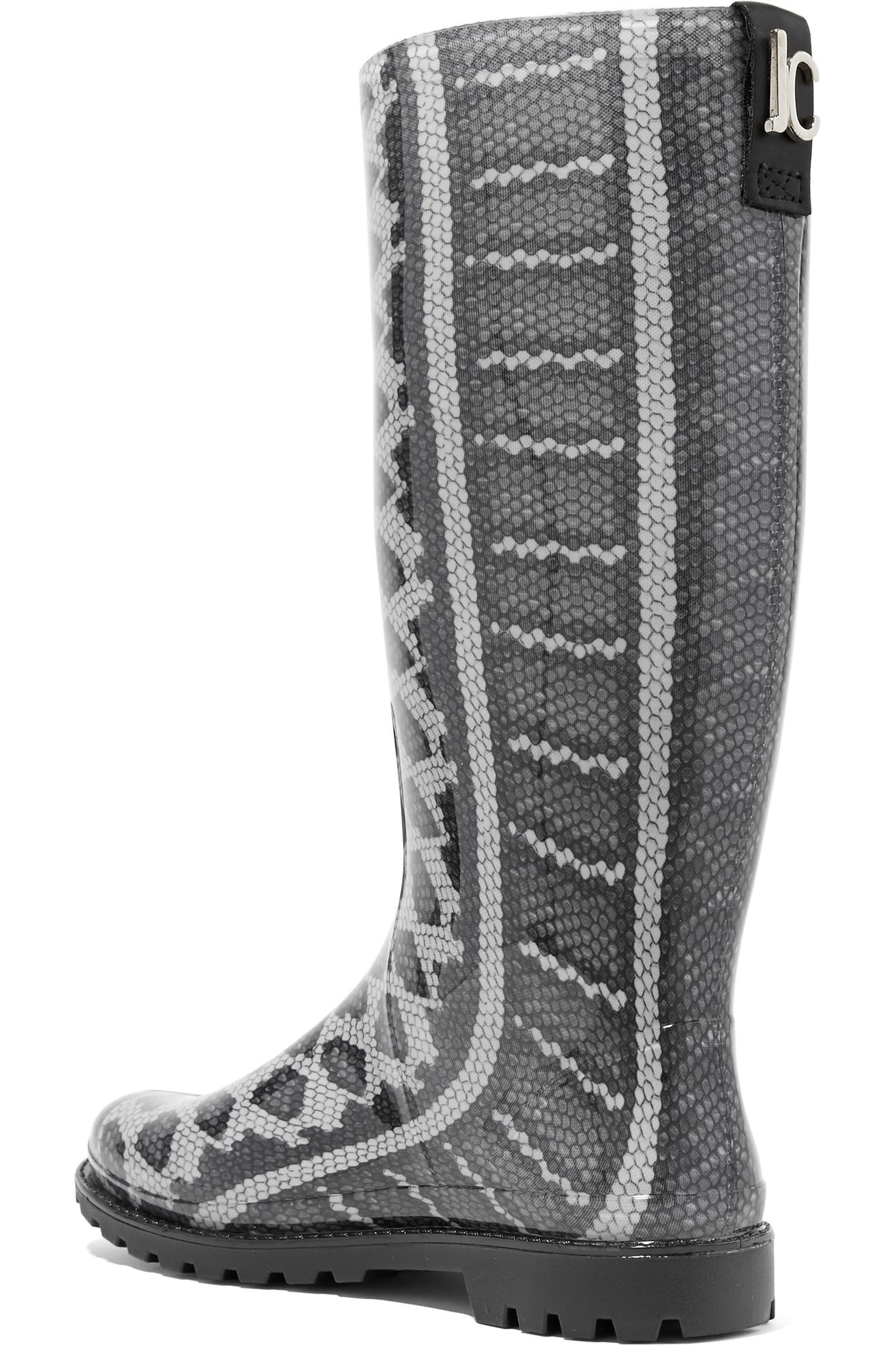 Just Cavalli Snake Print Rubber Rain Boots In Gray Lyst