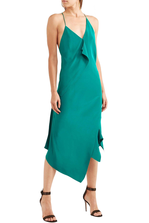 Vestido Mouret Verde Lyst Seda Midi Jimboy De Teal Seda Roland Asimétrica Mujer Id4q6xIw