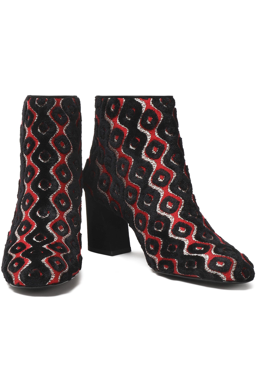 c7c4c07e775ca5 Stuart Weitzman Metallic Jacquard Ankle Boots in Black - Lyst