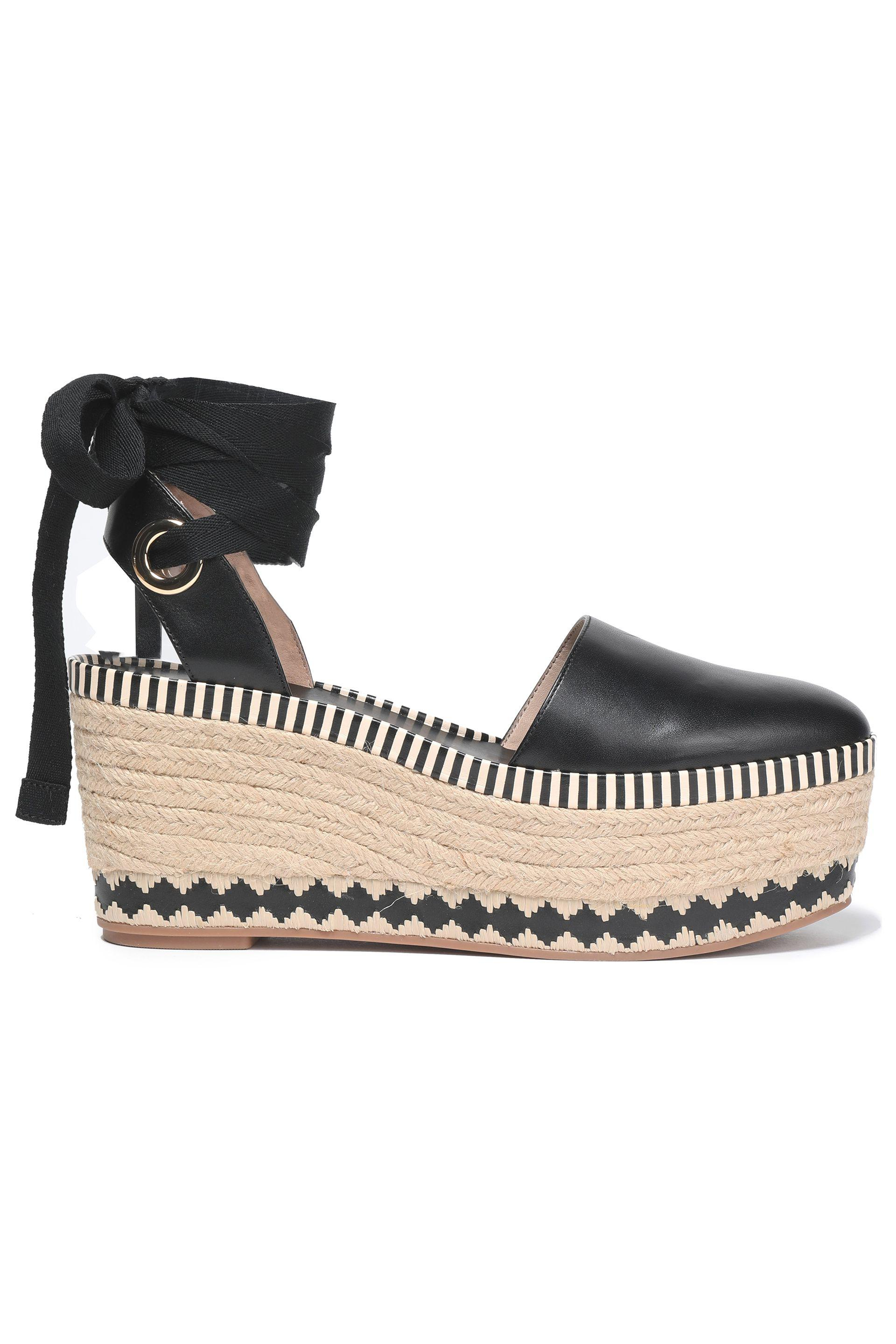 9a4ac2d9553 Tory Burch Lace-up Leather Platform Espadrilles in Black - Lyst
