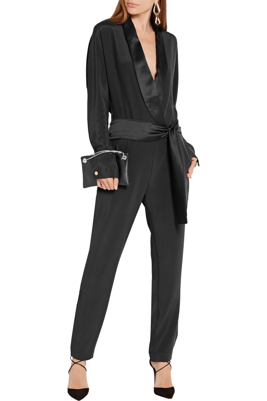 Michael Lo Sordo - Black Wrap-effect Satin-trimmed Silk Crepe De Chine  Jumpsuit. View Fullscreen