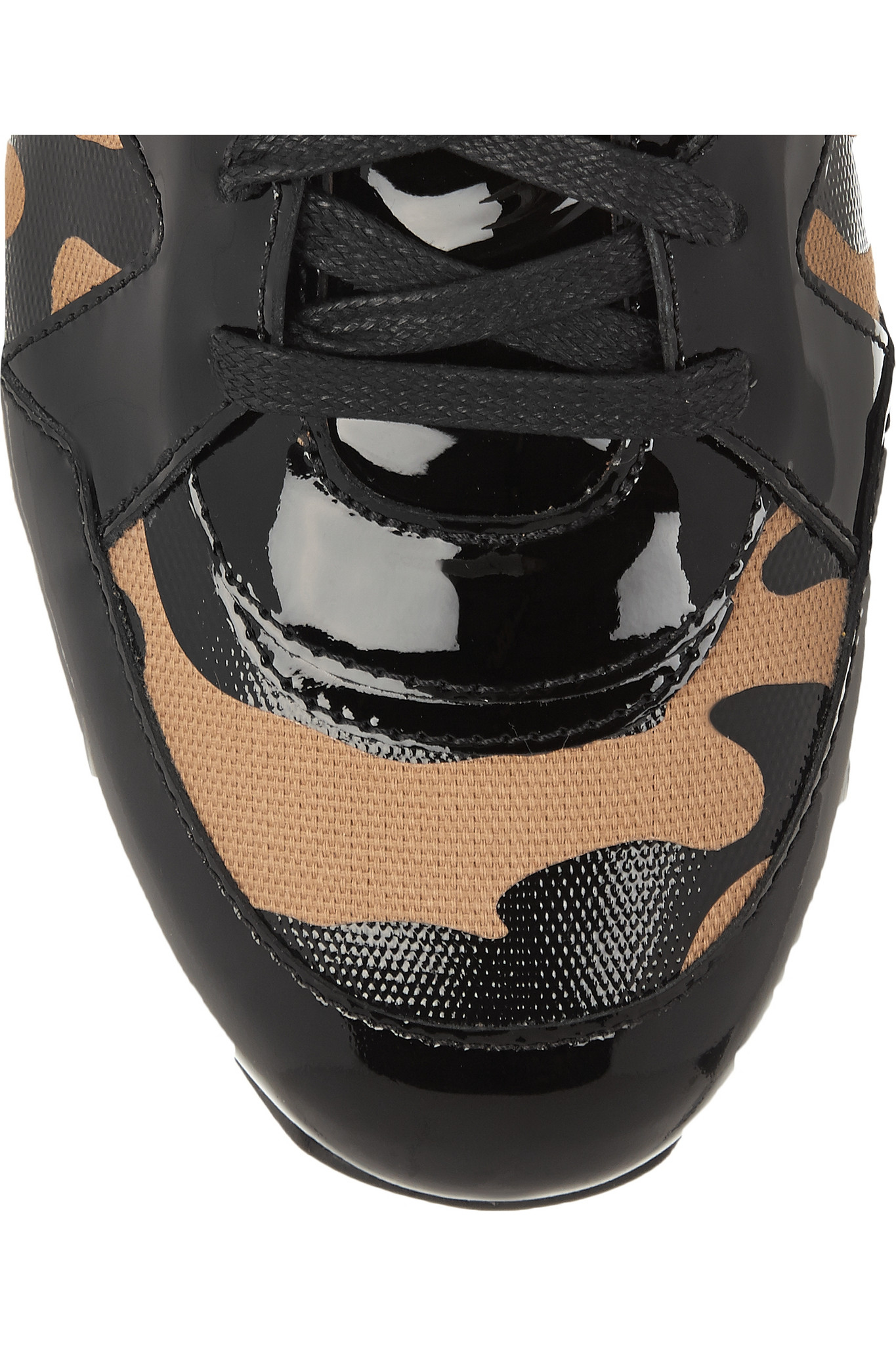 Jimmy Choo London Leopard Print Canvas And Patent Leather
