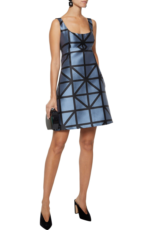 161e158ef2b Lyst - MILLY Woman Roxanne Flared Satin-jacquard Mini Dress Light ...
