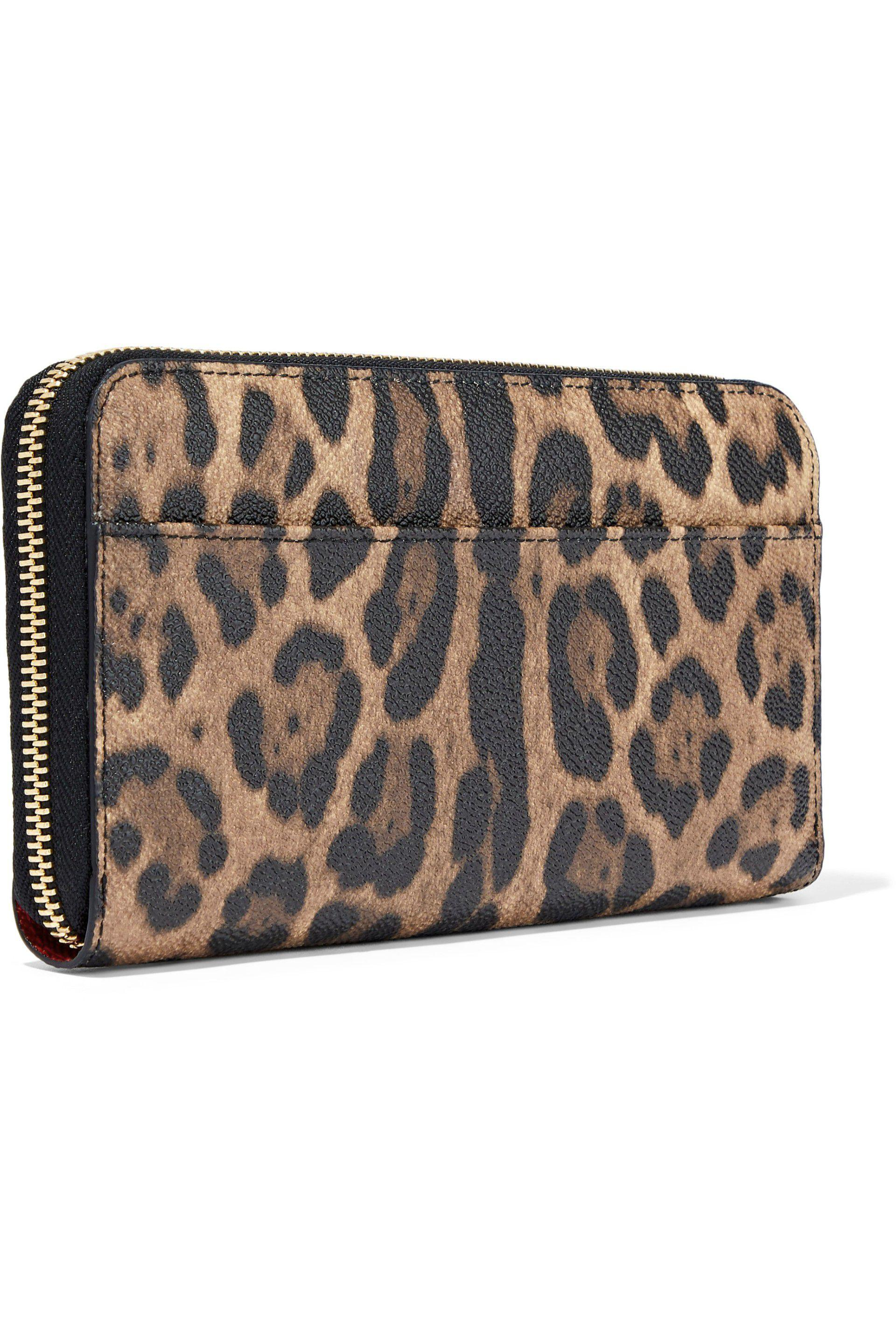 0072470550 Dolce & Gabbana Leopard-print Textured-leather Continental Wallet - Lyst