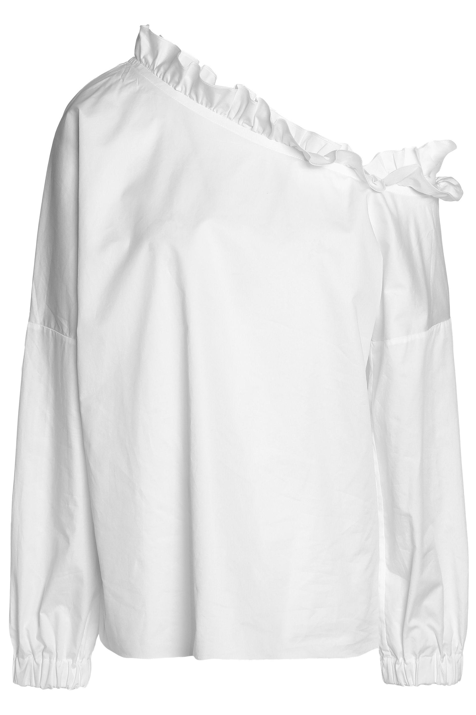 3f5f284c2c4b Tibi One-shoulder Ruffle-trimmed Cotton-poplin Top in White - Lyst