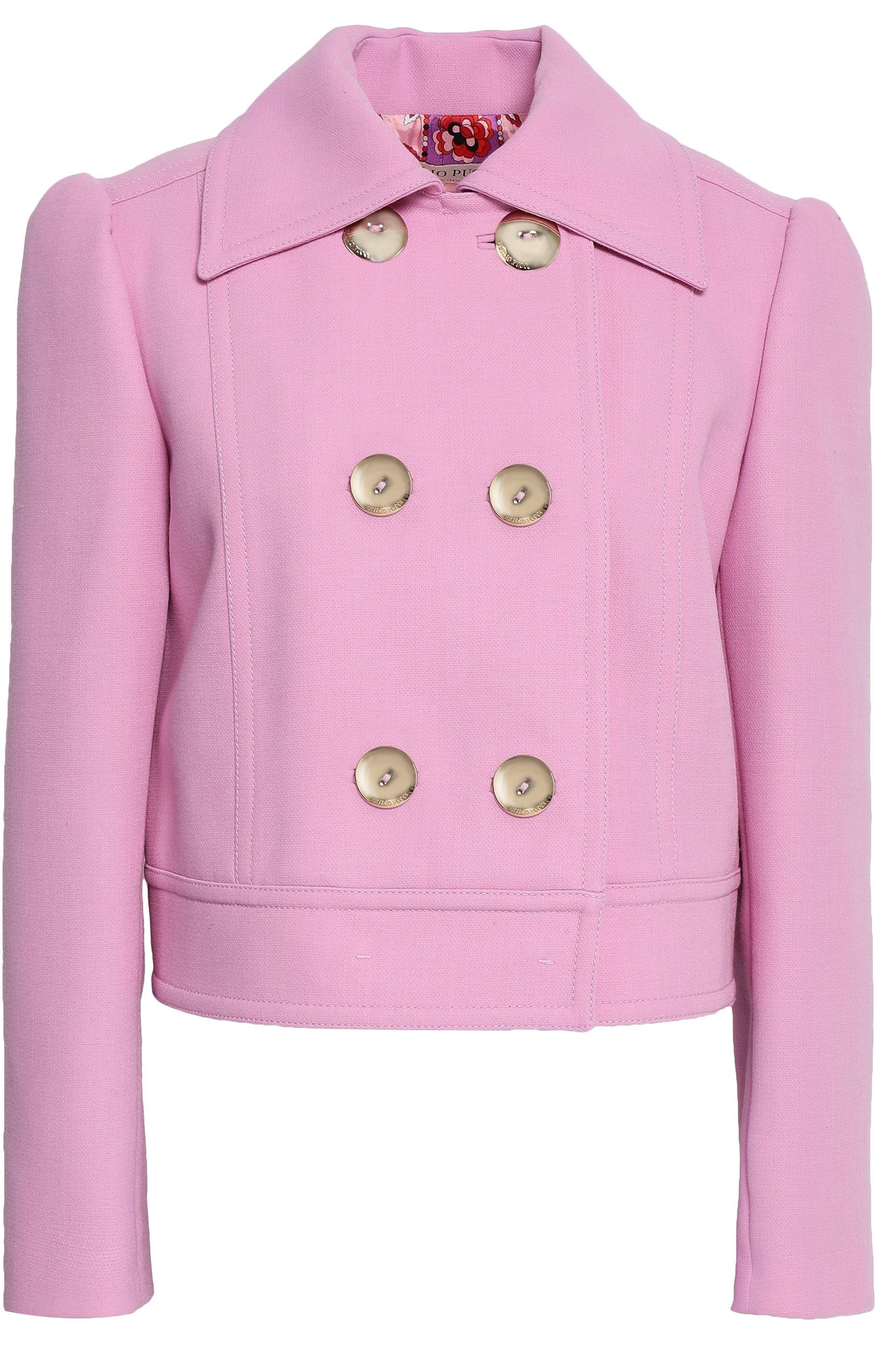 2db6d5134680 Emilio Pucci. Women s Purple Woman Double-breasted Cropped Crepe Jacket  Lilac